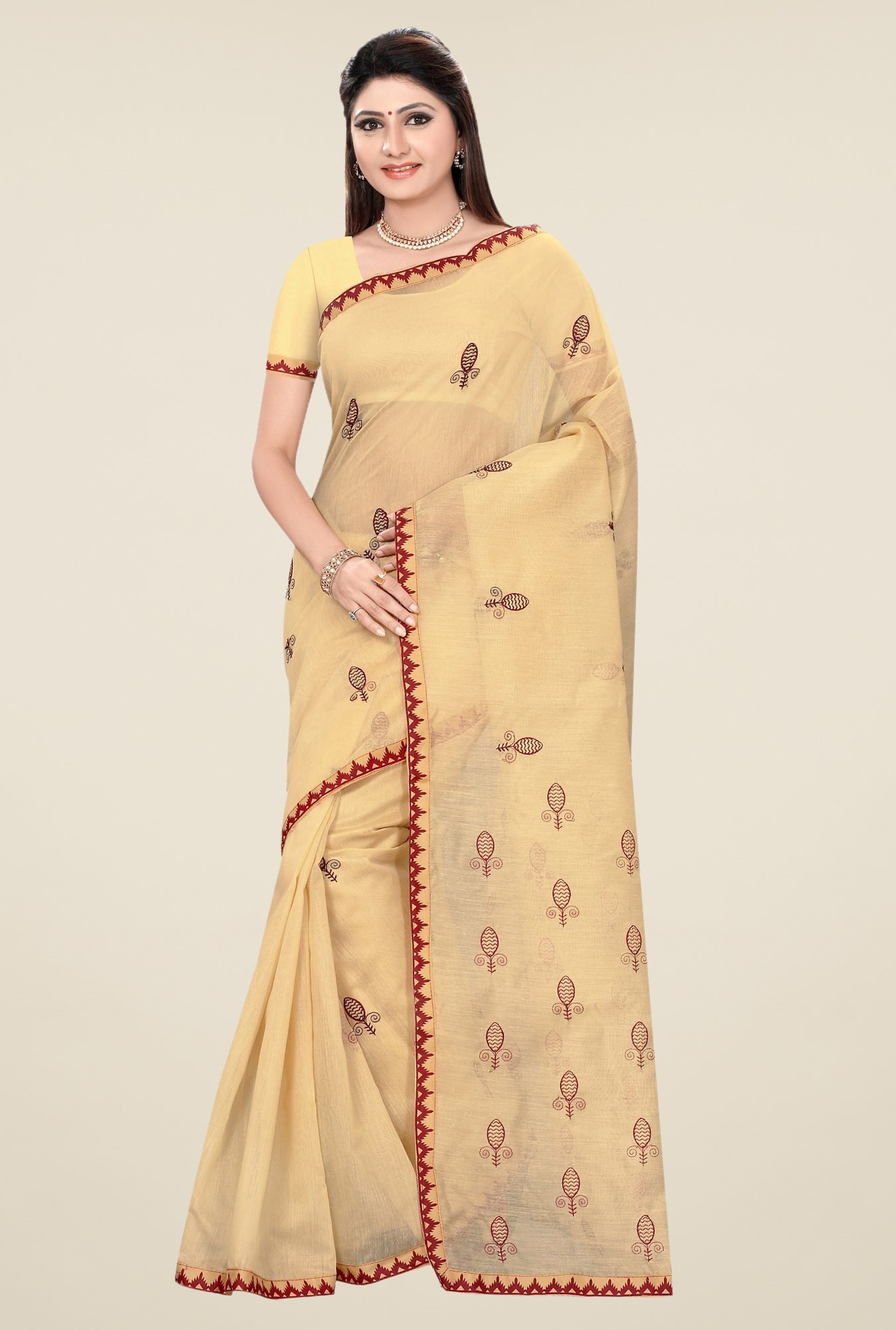 Triveni Beige & Red Embroidered Blended Cotton Saree