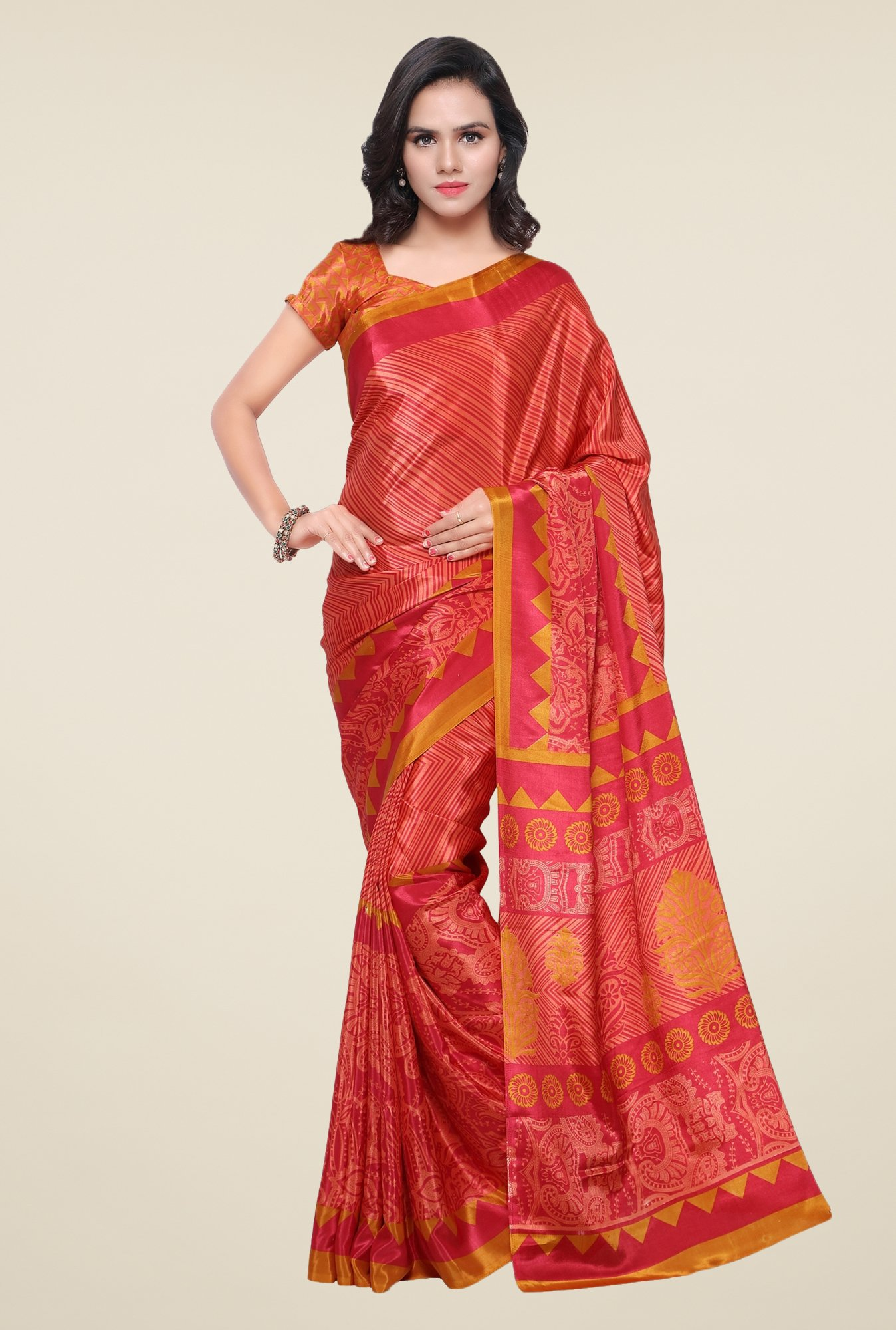 Triveni Red Printed Crape Saree