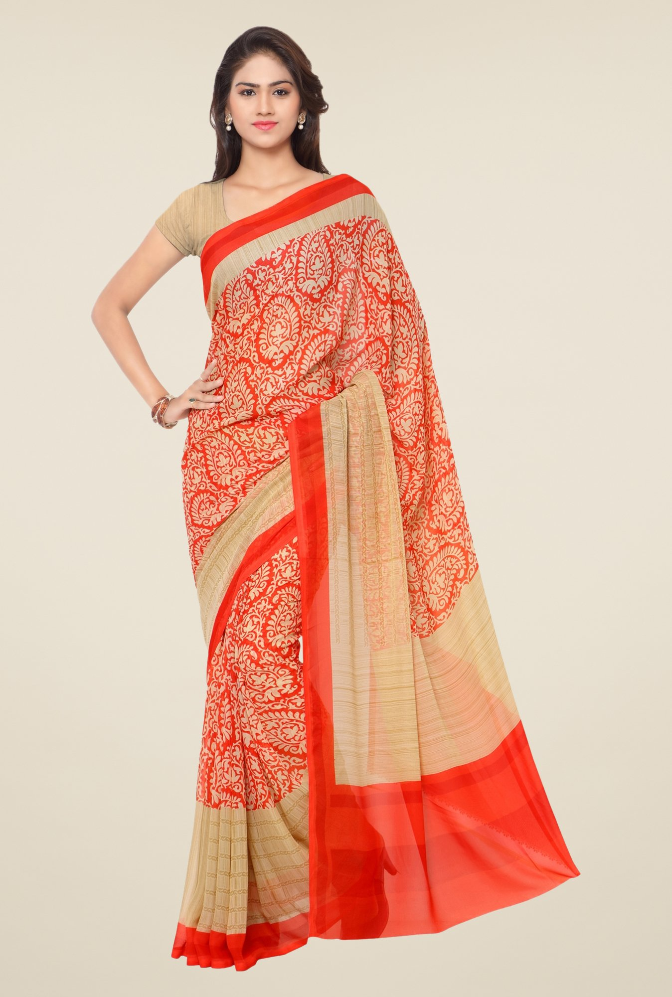 Triveni Red Paisley Print Art Silk Saree