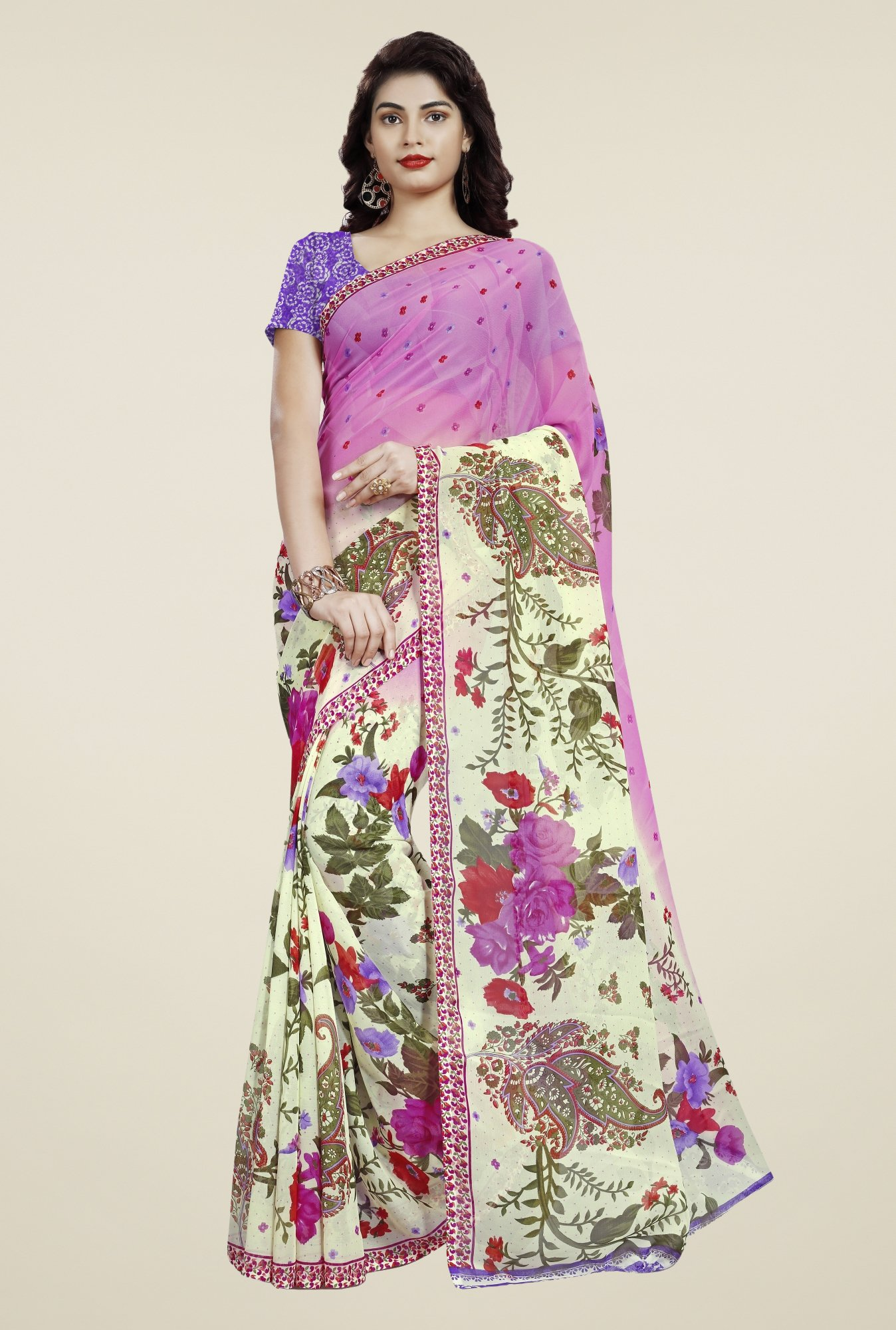 Triveni Cream & Pink Printed Faux Georgette Saree