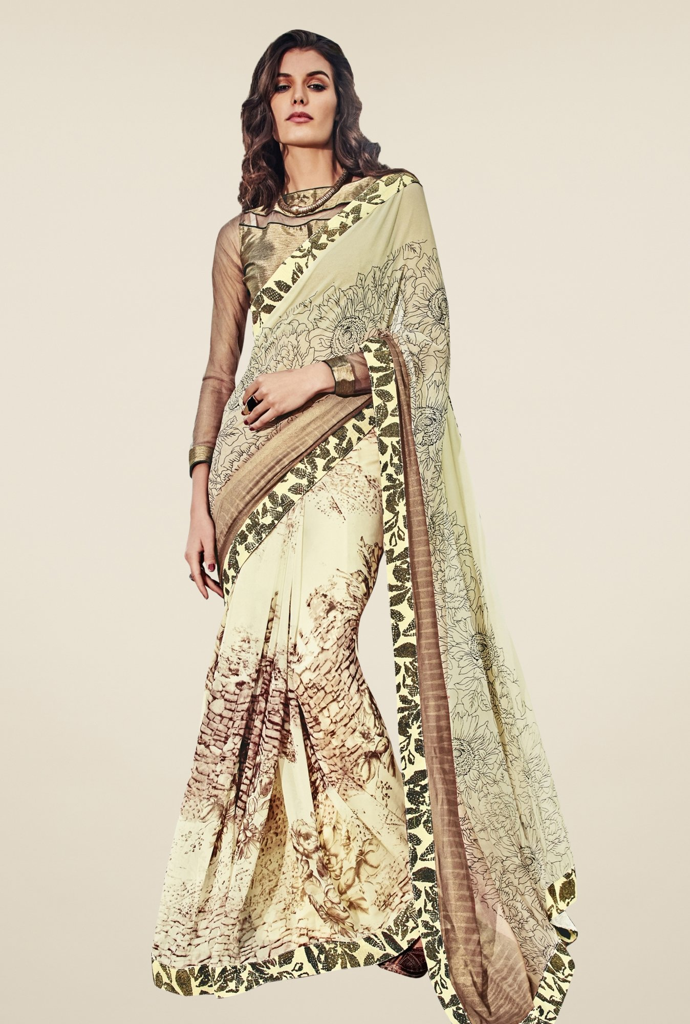 Triveni Cream Printed Faux Georgette Saree