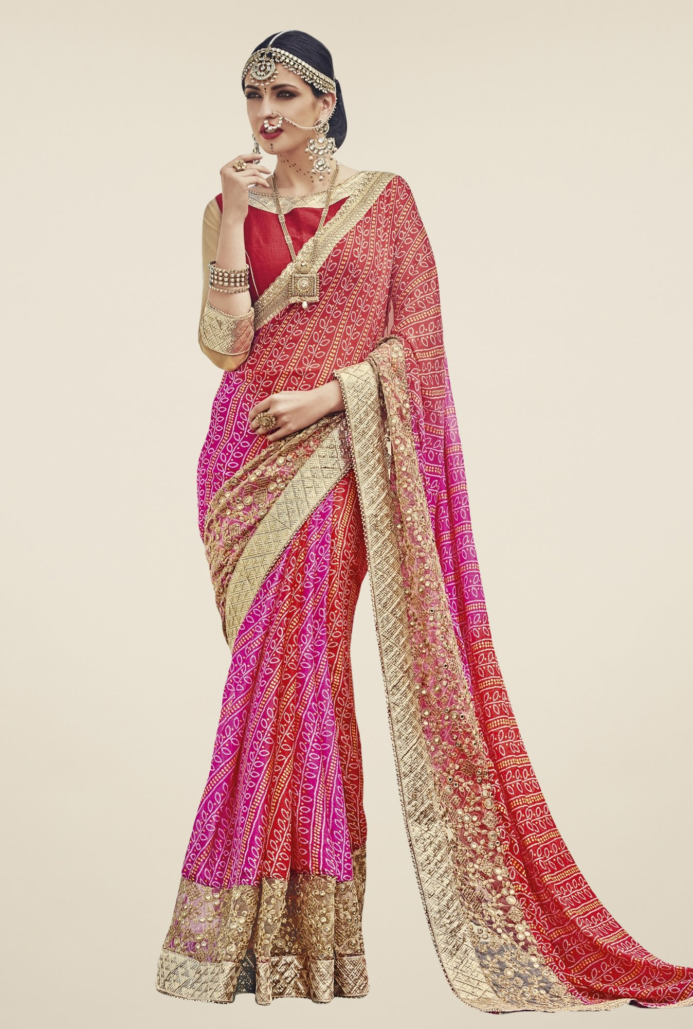 Triveni Pink & Red Bandhani Faux Georgette Saree