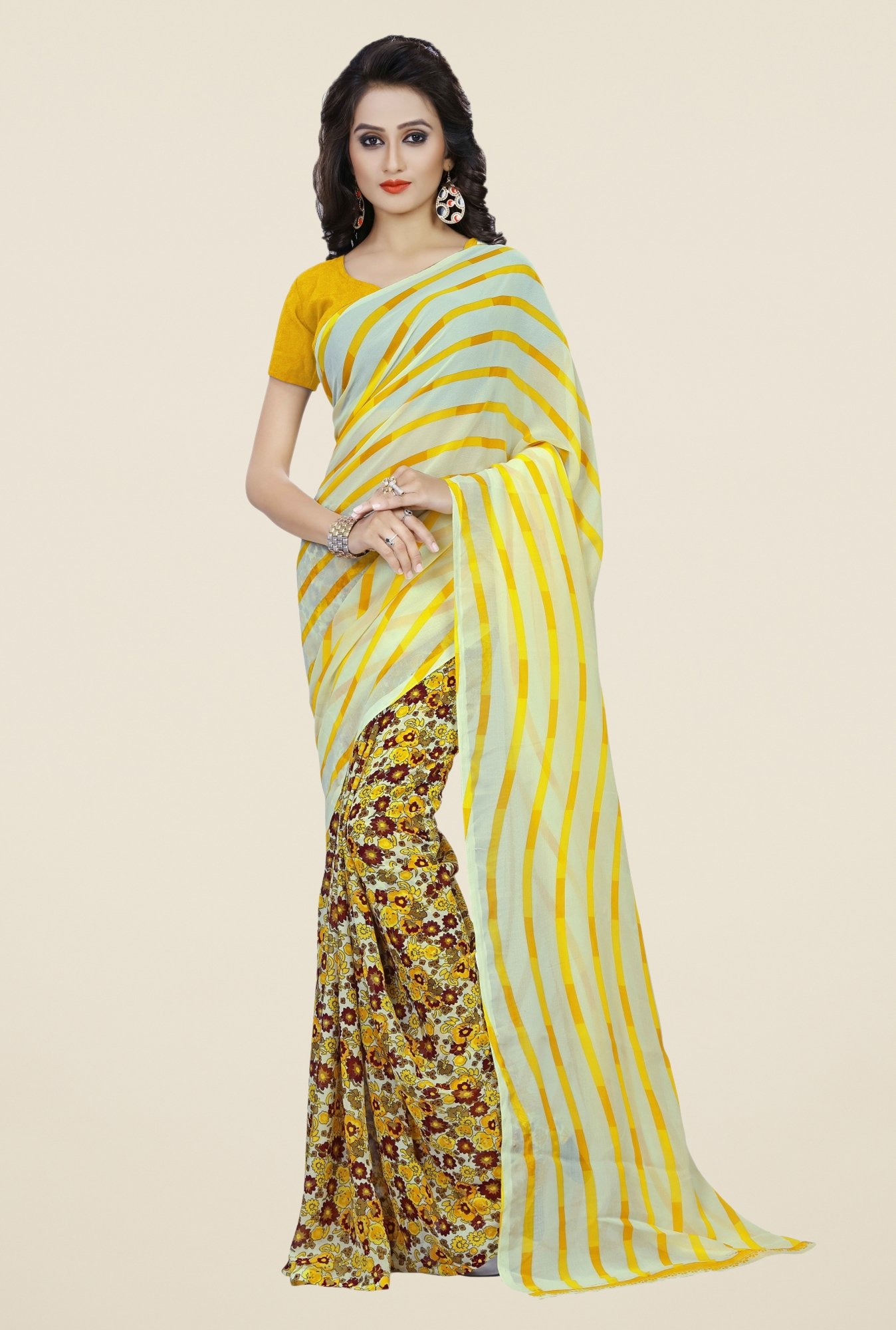 Triveni Yellow Faux Georgette Half and Half Saree