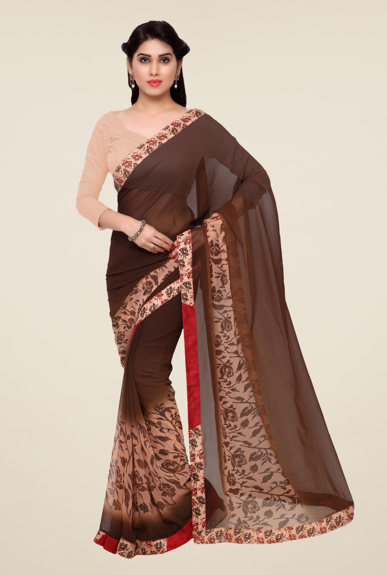 Triveni Brown Printed Faux Georgette Saree