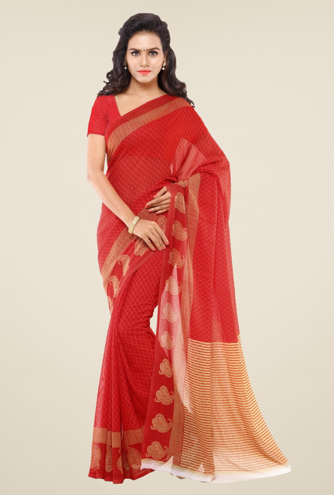 Triveni Red Printed Faux Georgette Saree