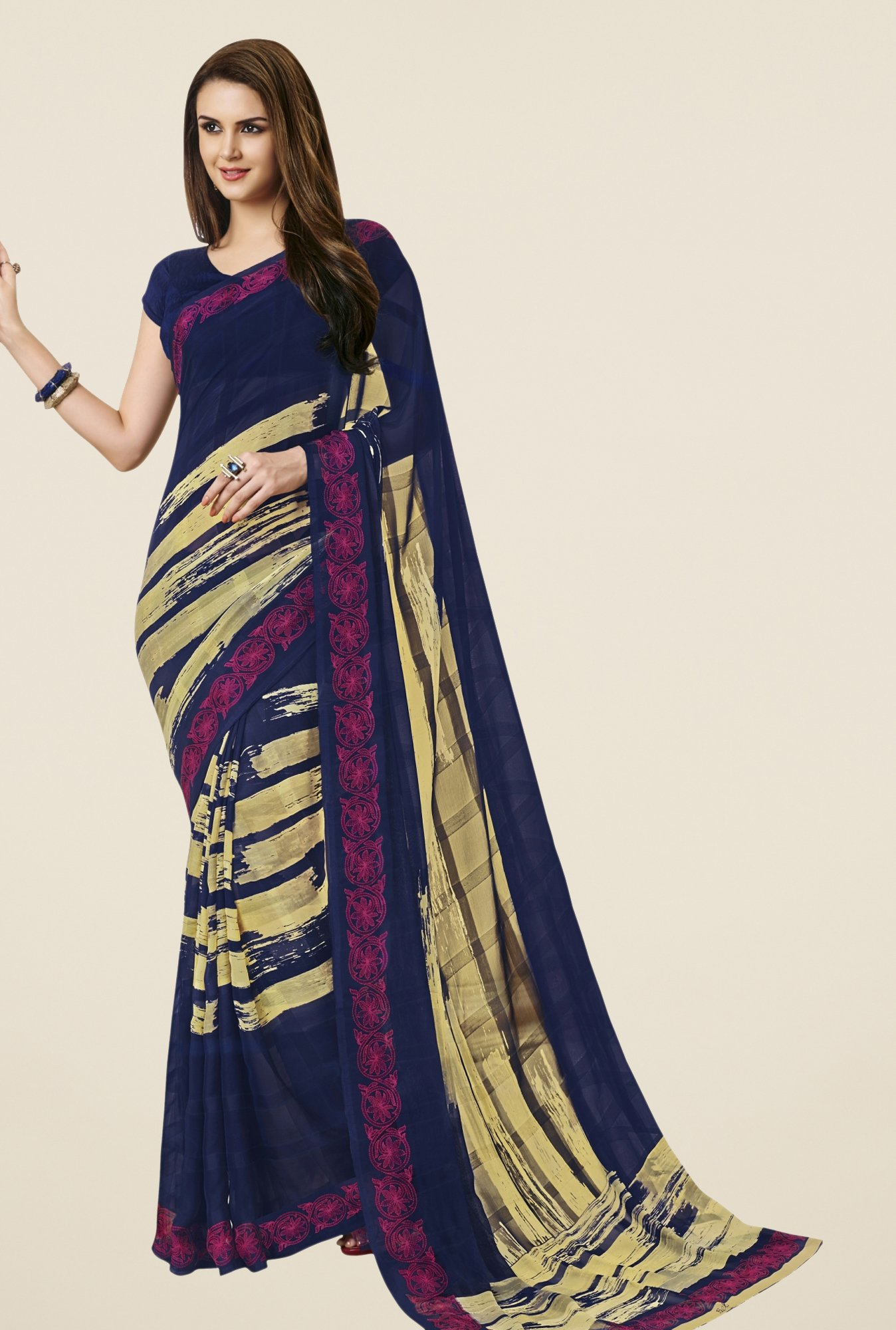 Triveni Navy Printed Faux Georgette Saree