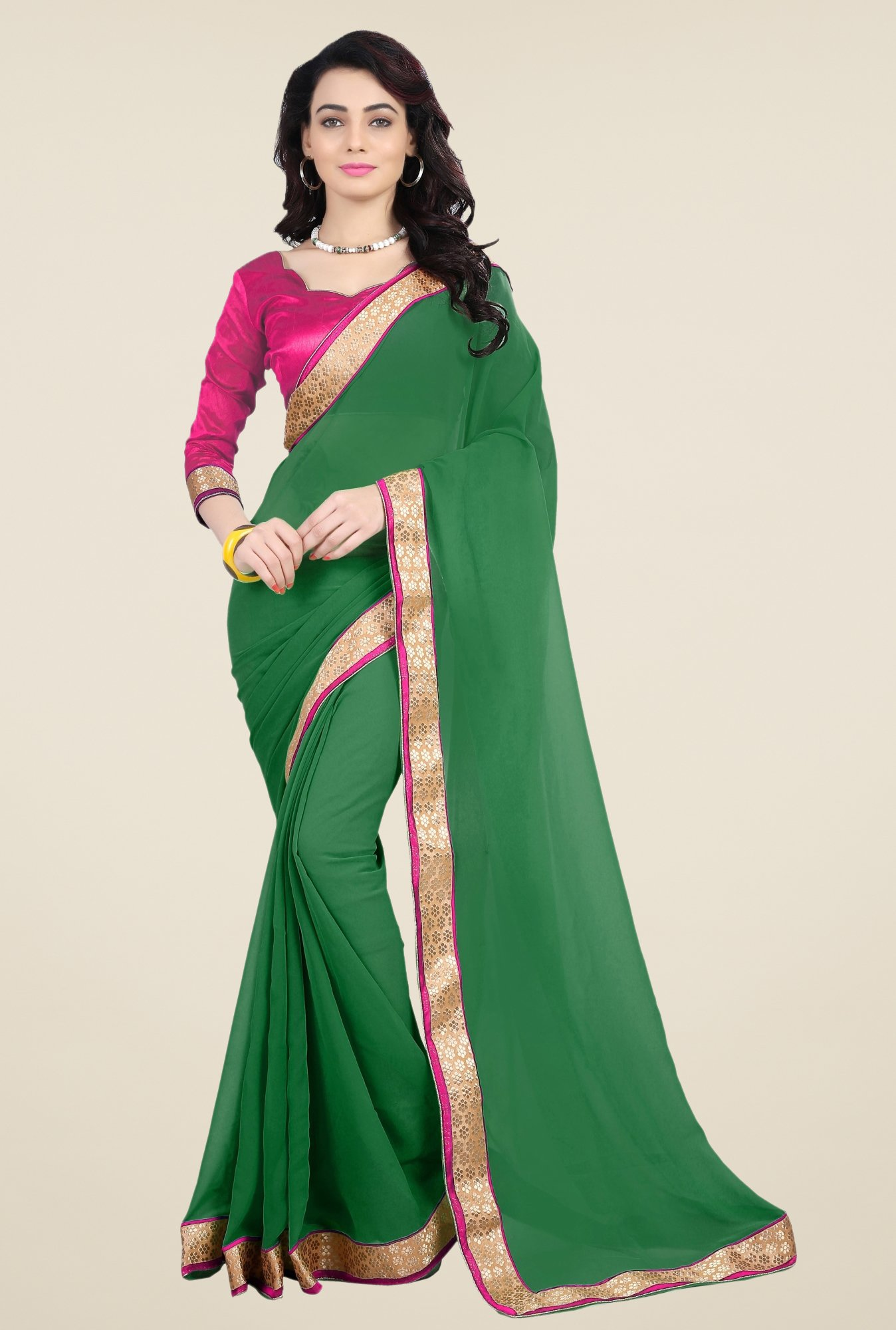 Triveni Green Faux Georgette Saree