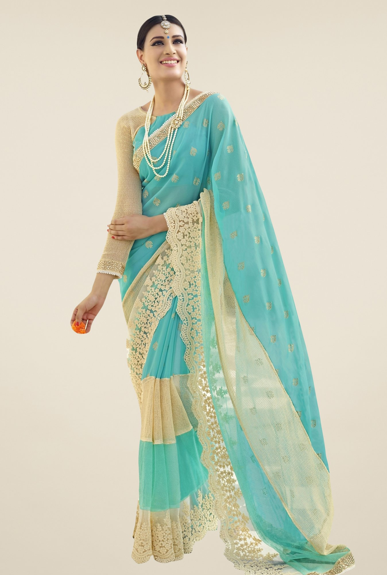 Triveni Sky Blue Embroidered Faux Georgette Saree