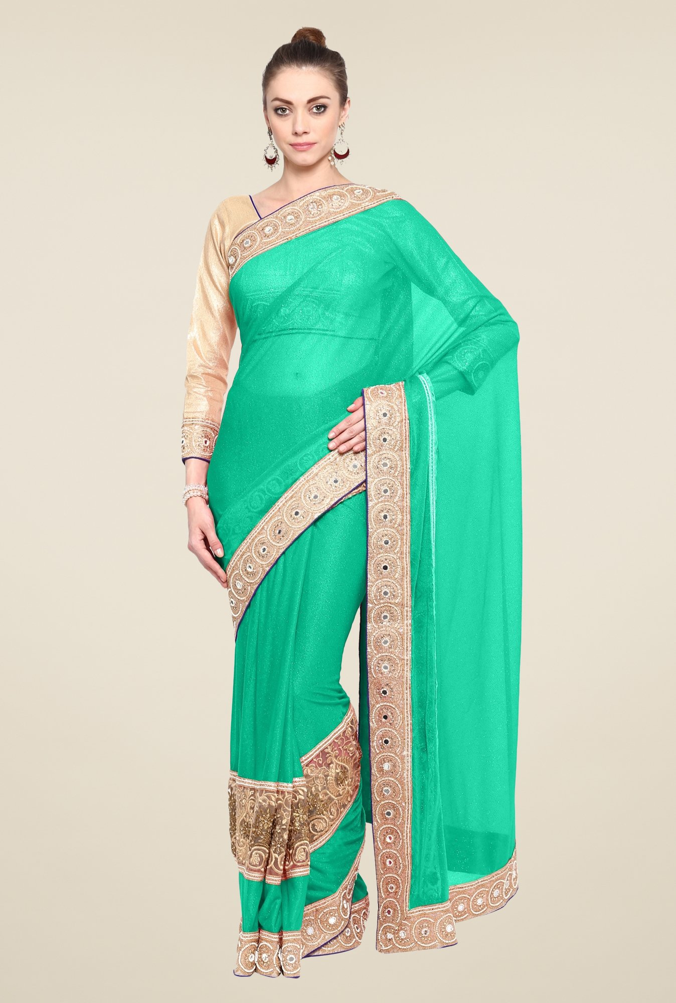 Triveni Turquoise Embroidered Lycra Saree