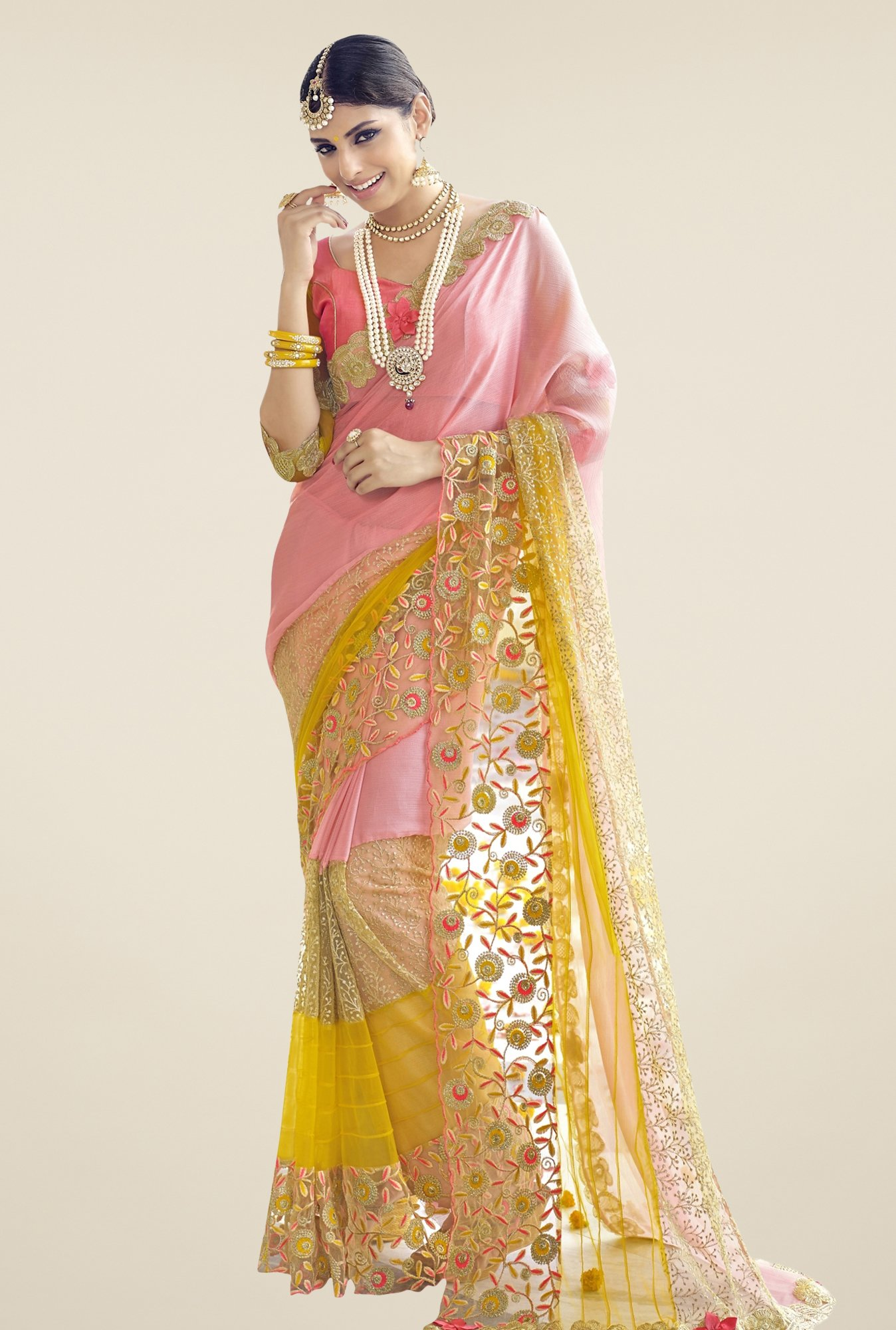 Triveni Pink & Yellow Embroidered Faux Georgette Net Saree