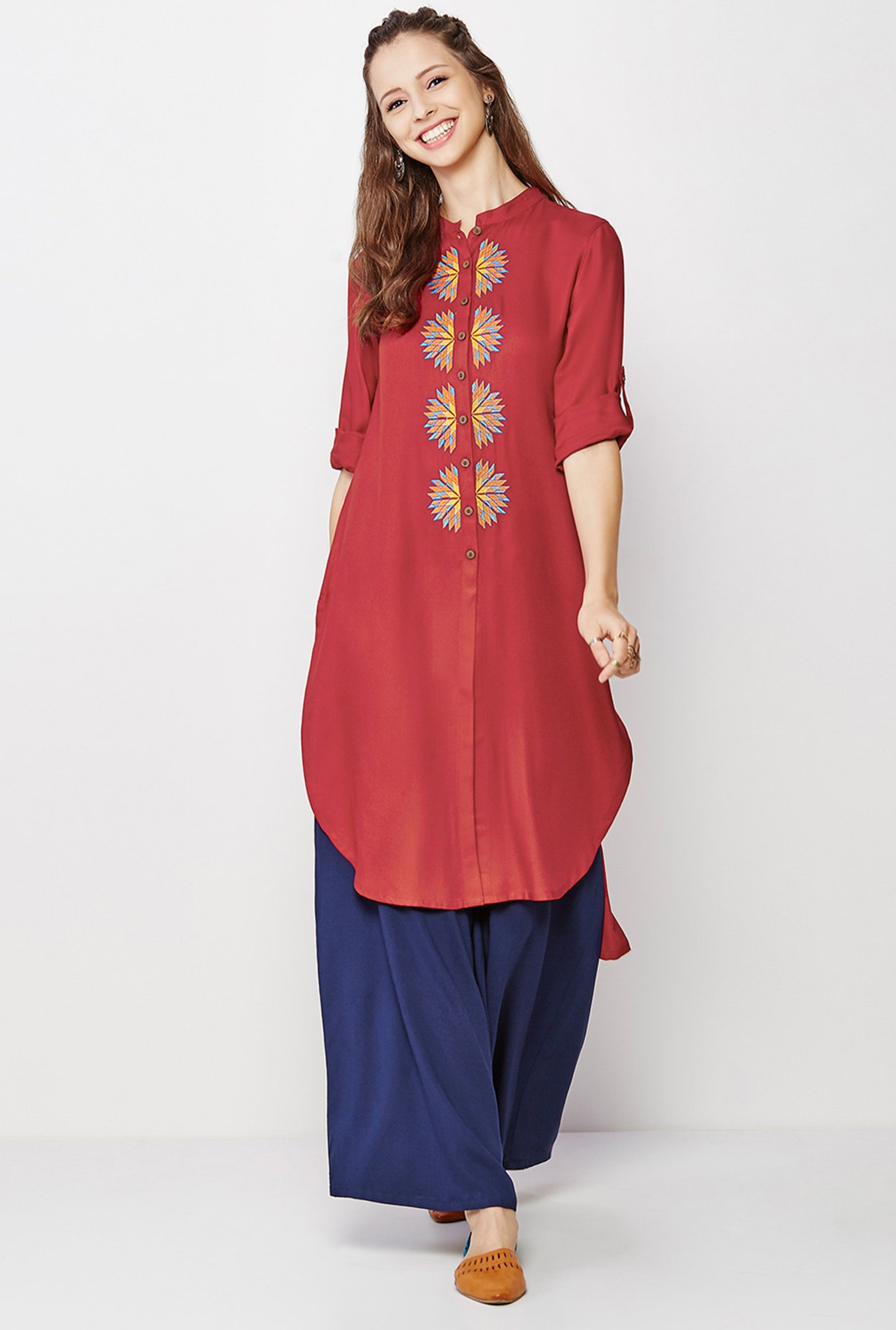 Global Desi Dark Red Embroidered Kurti