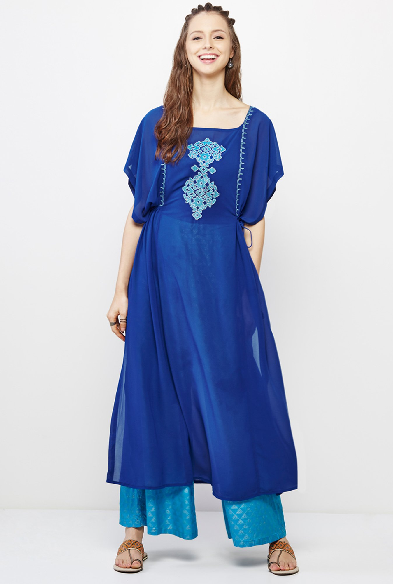 Global Desi Blue Embroidered Kurta And Palazzo Set