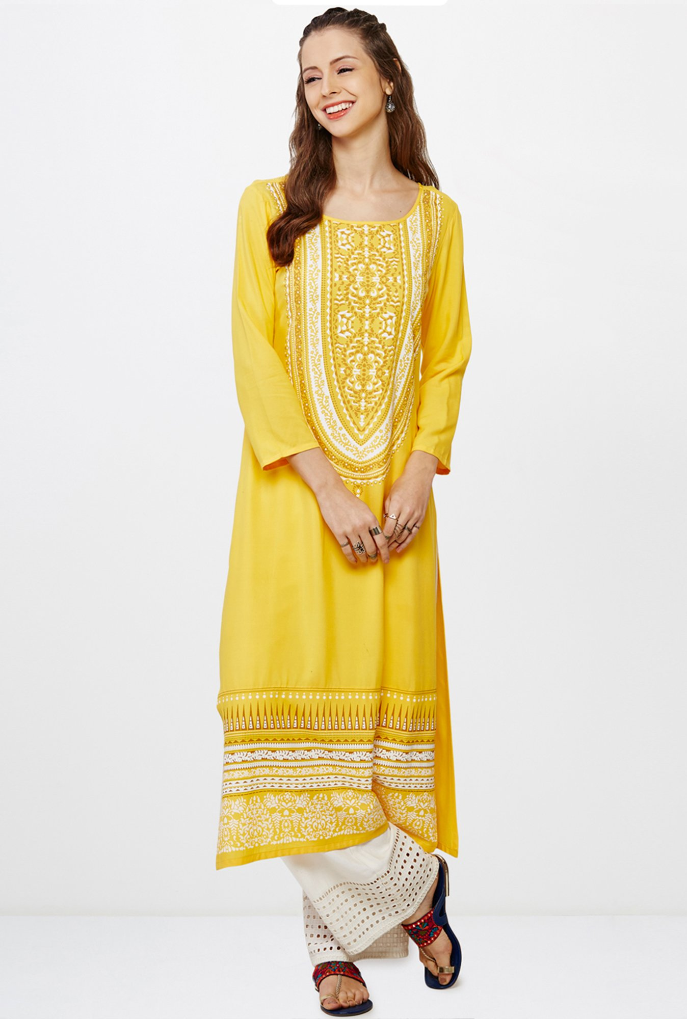 Global Desi Yellow Printed Kurta