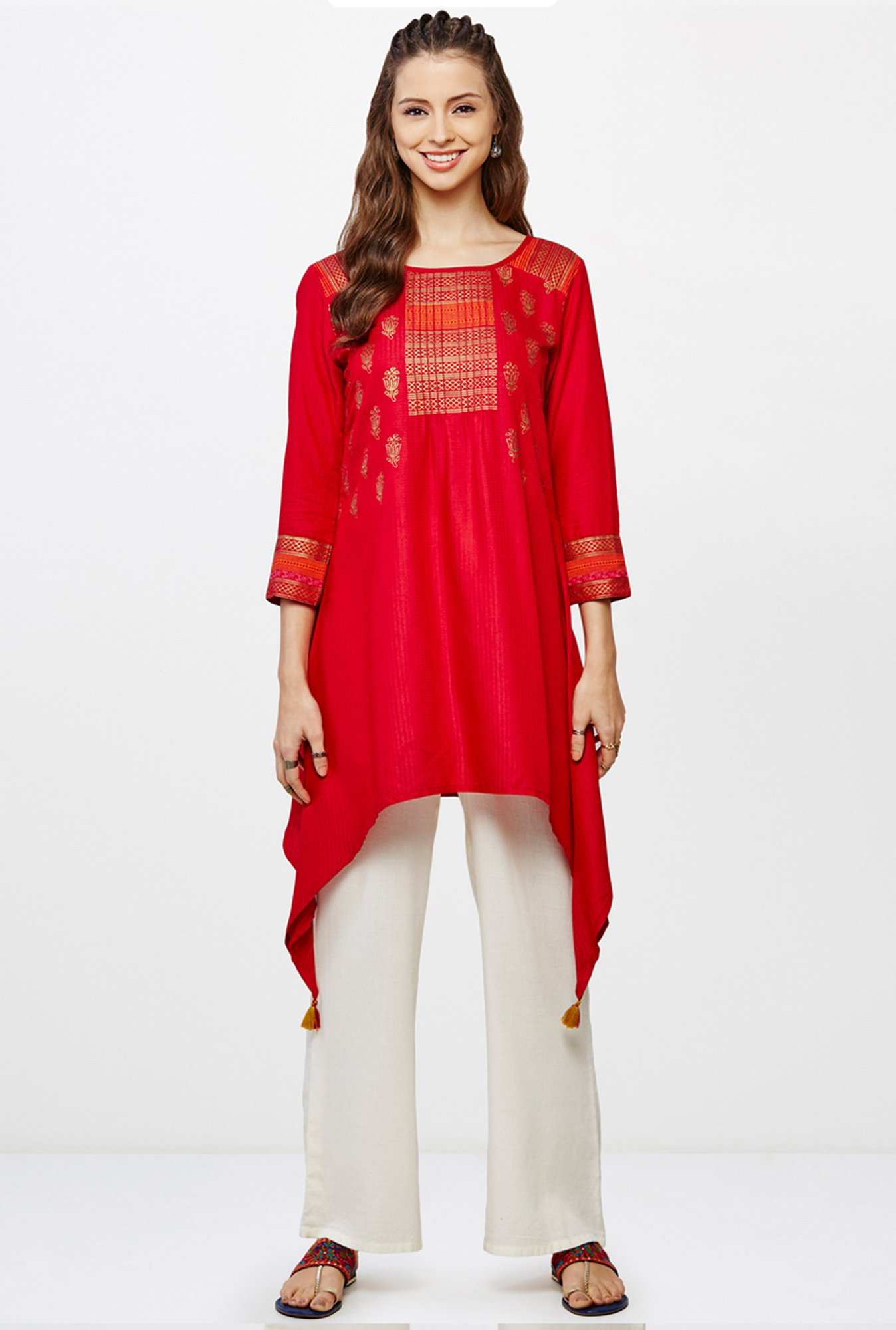 Global Desi Red Printed Kurti
