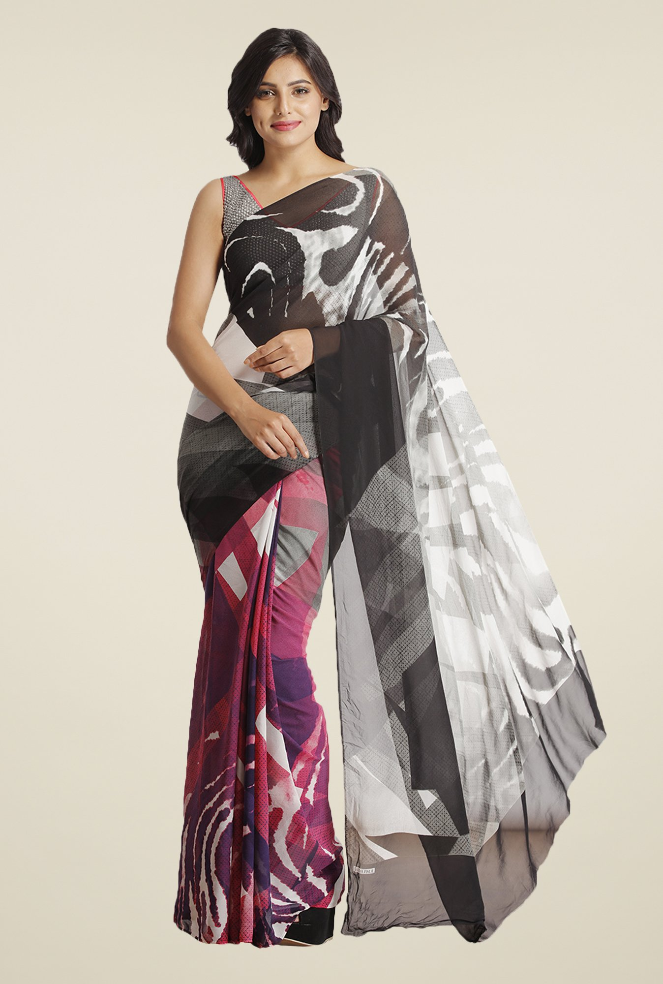 Satya Paul Black & Pink Crepe Saree
