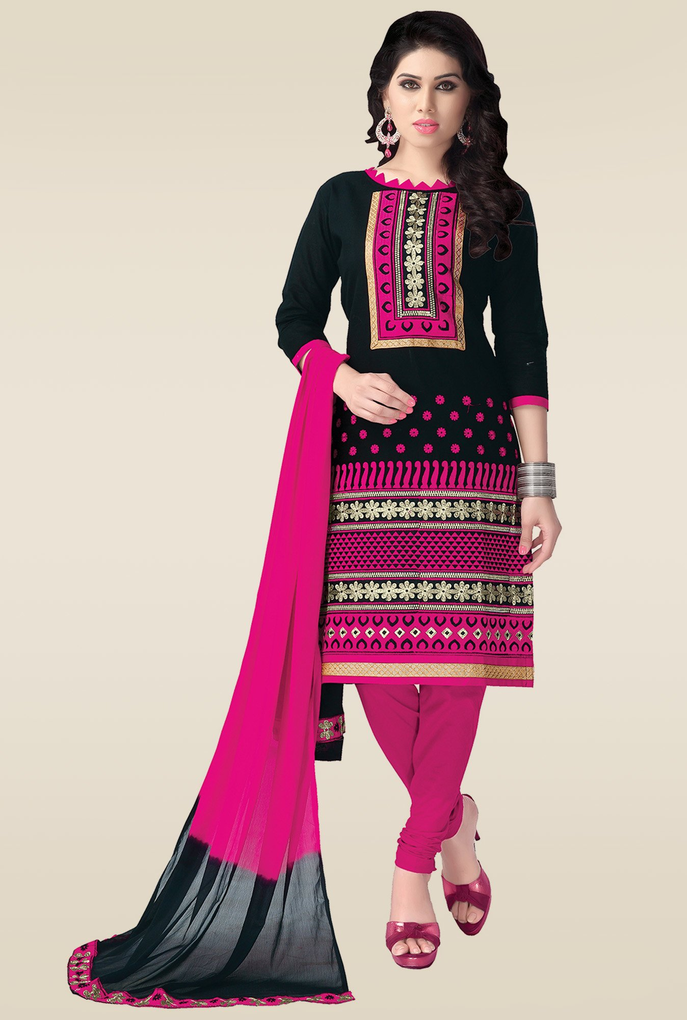 Ishin Black & Pink Embroidered Dress Material