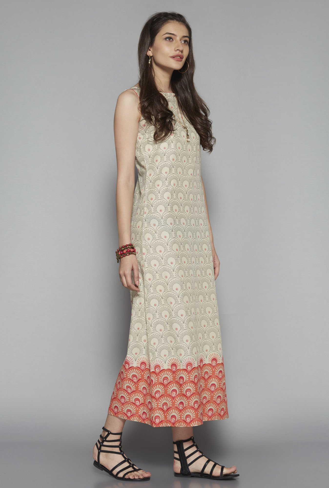 Buy Bombay Paisley by Westside Beige Printed Maxi Dress for Women ...