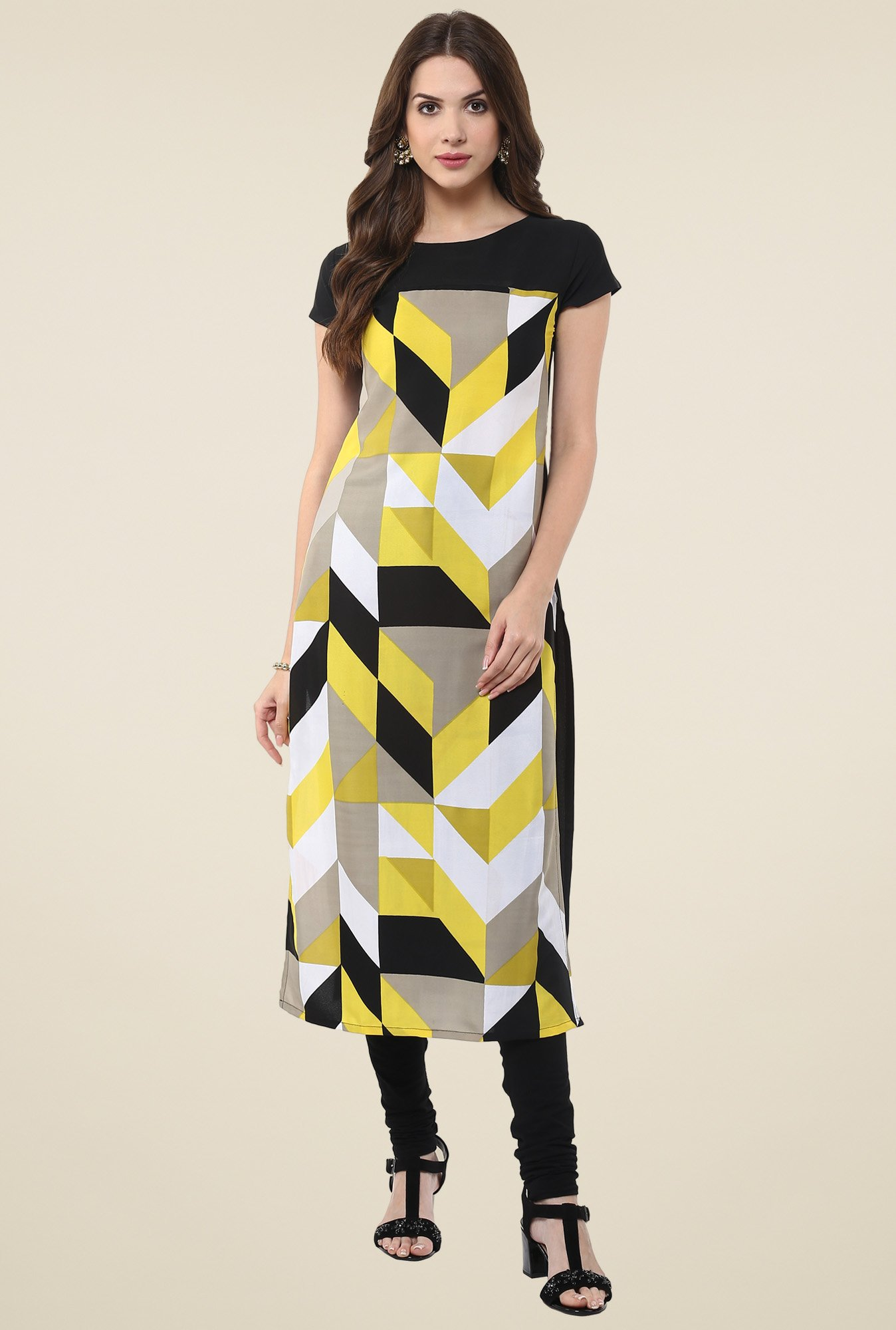 Janasya Yellow Printed Round Neck Kurti