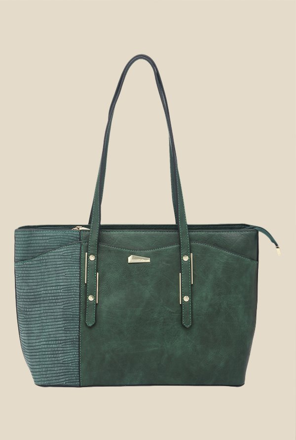 Esbeda Dark Green Lizard Textured Handbag