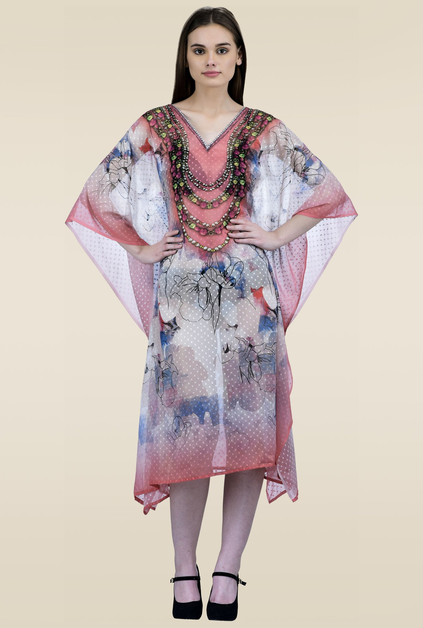 Ahalyaa Multicolor 3/4th Sleeves Kaftan