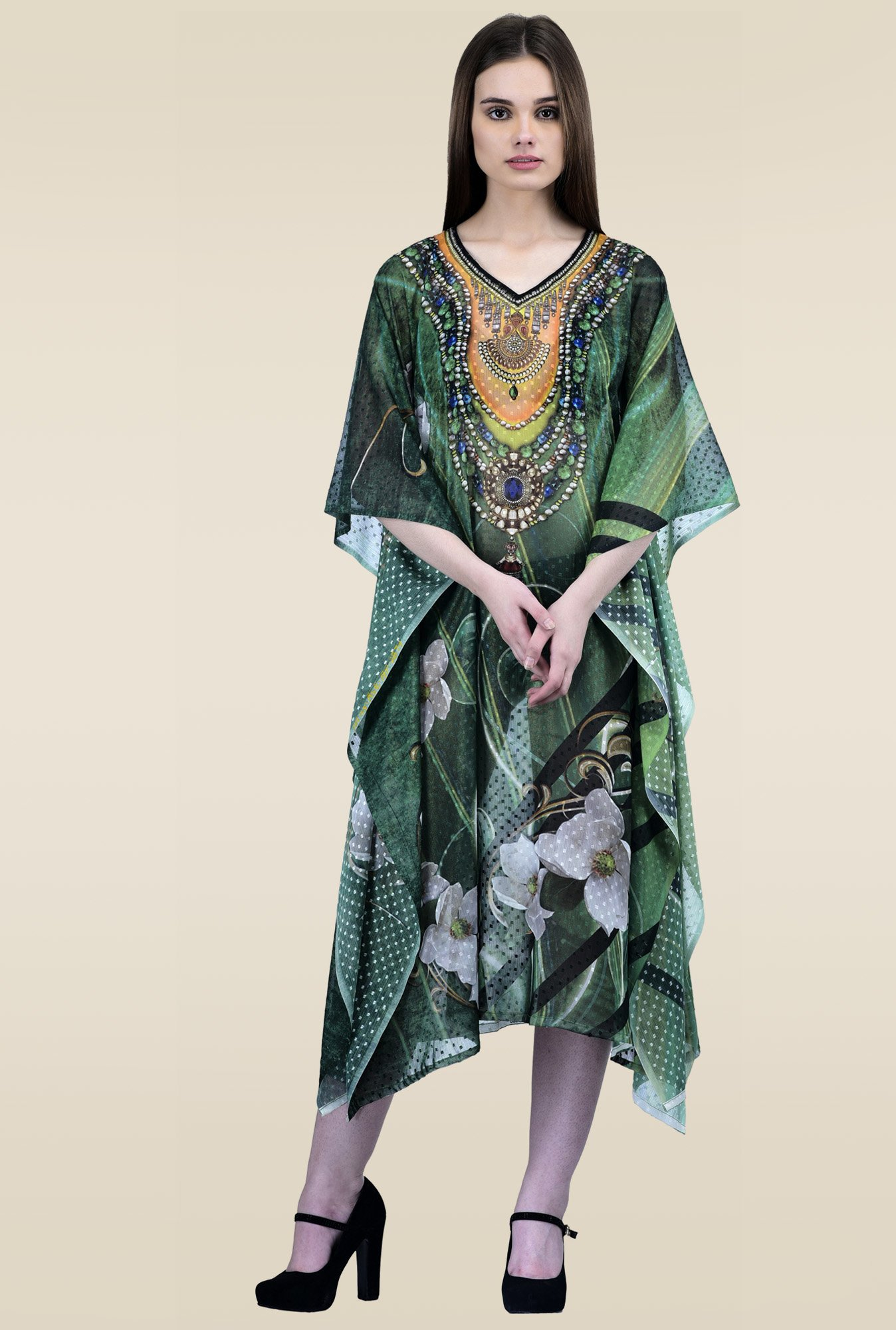 Ahalyaa Green V-Neck Regular Fit Kaftan