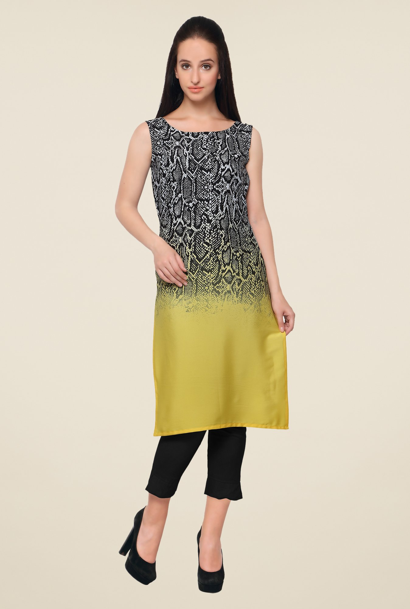 Ahalyaa Black & Yellow Printed Kurta