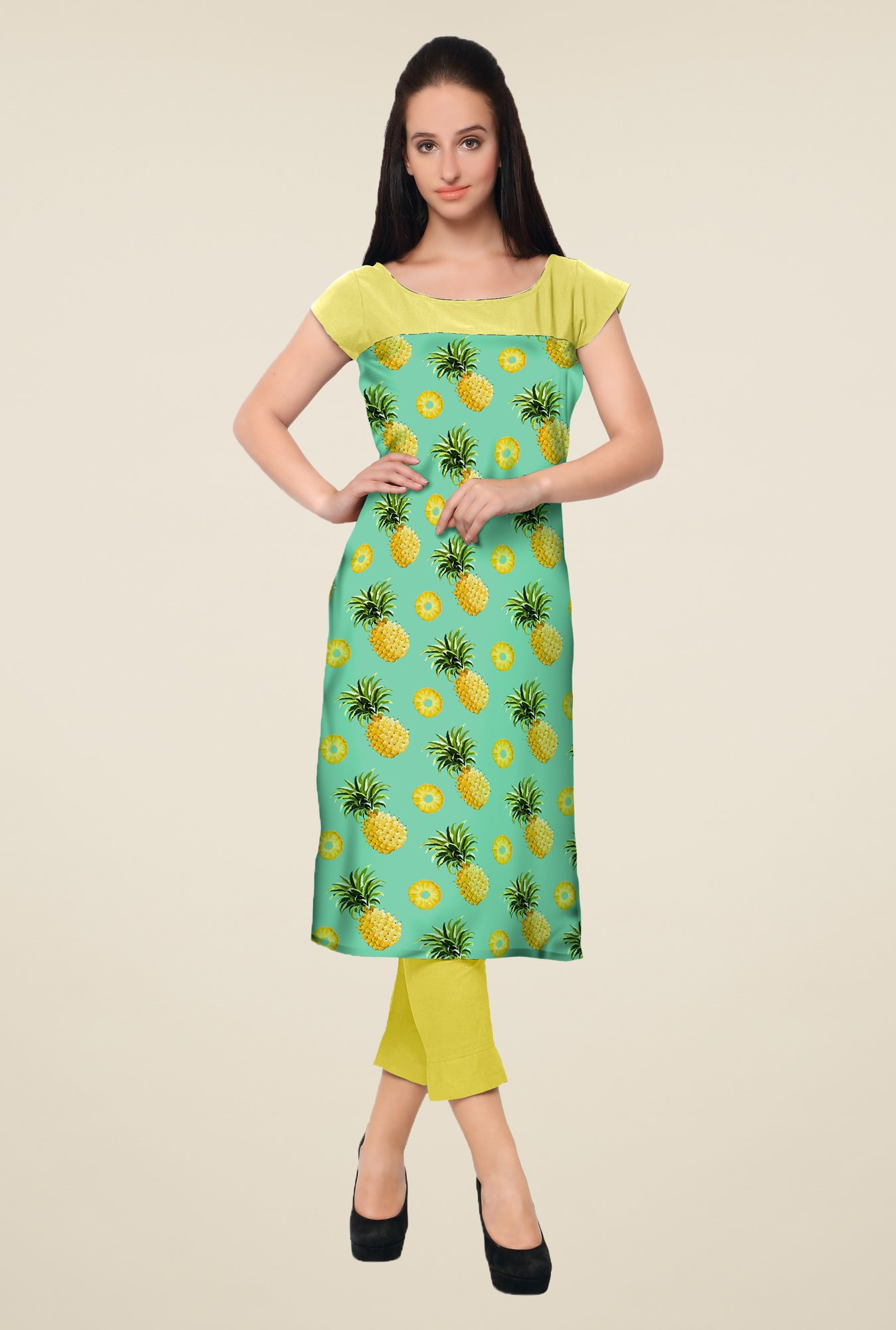 Ahalyaa Yellow Printed Kurta