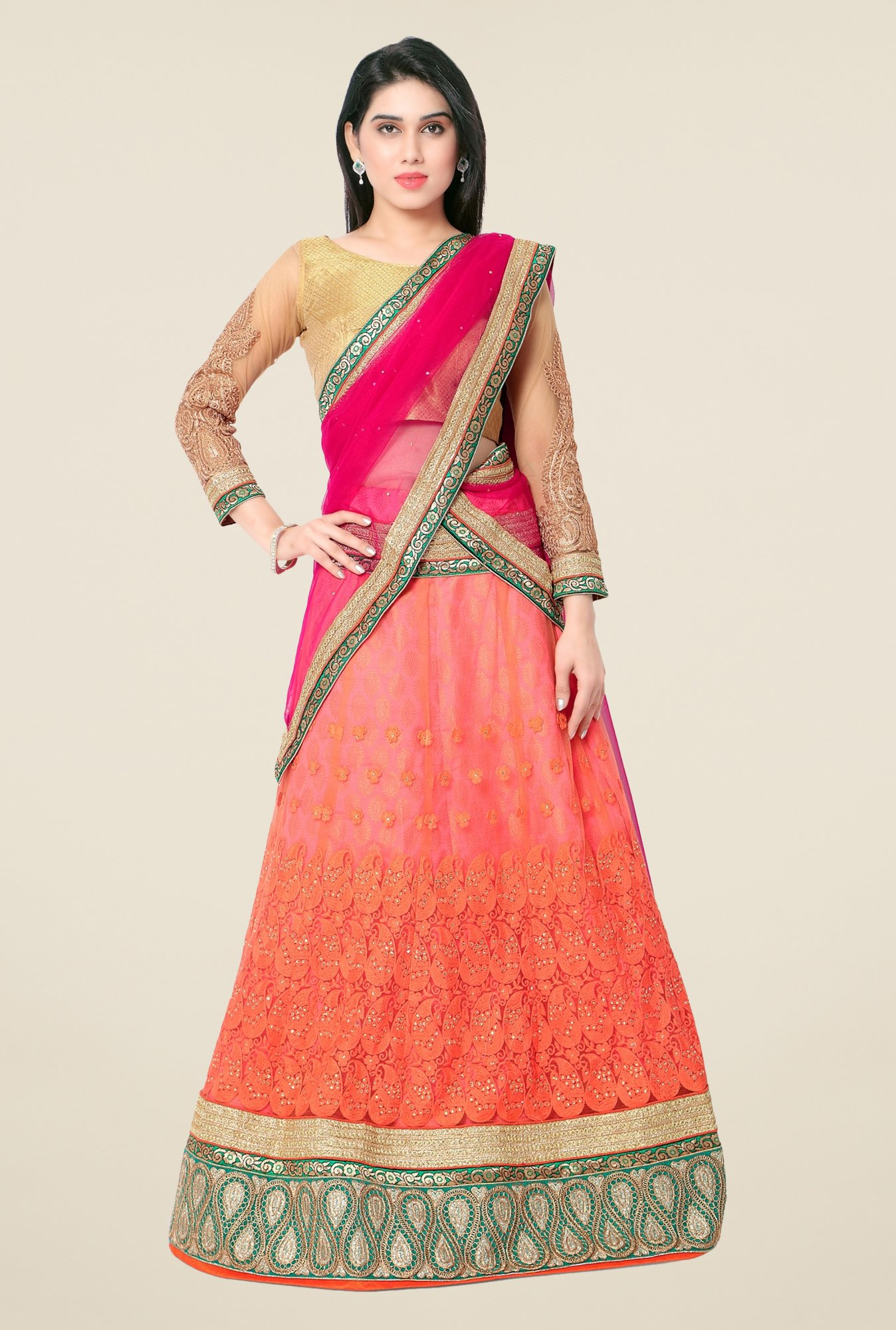 Triveni Orange & Gold Embroidered Lehenga Choli