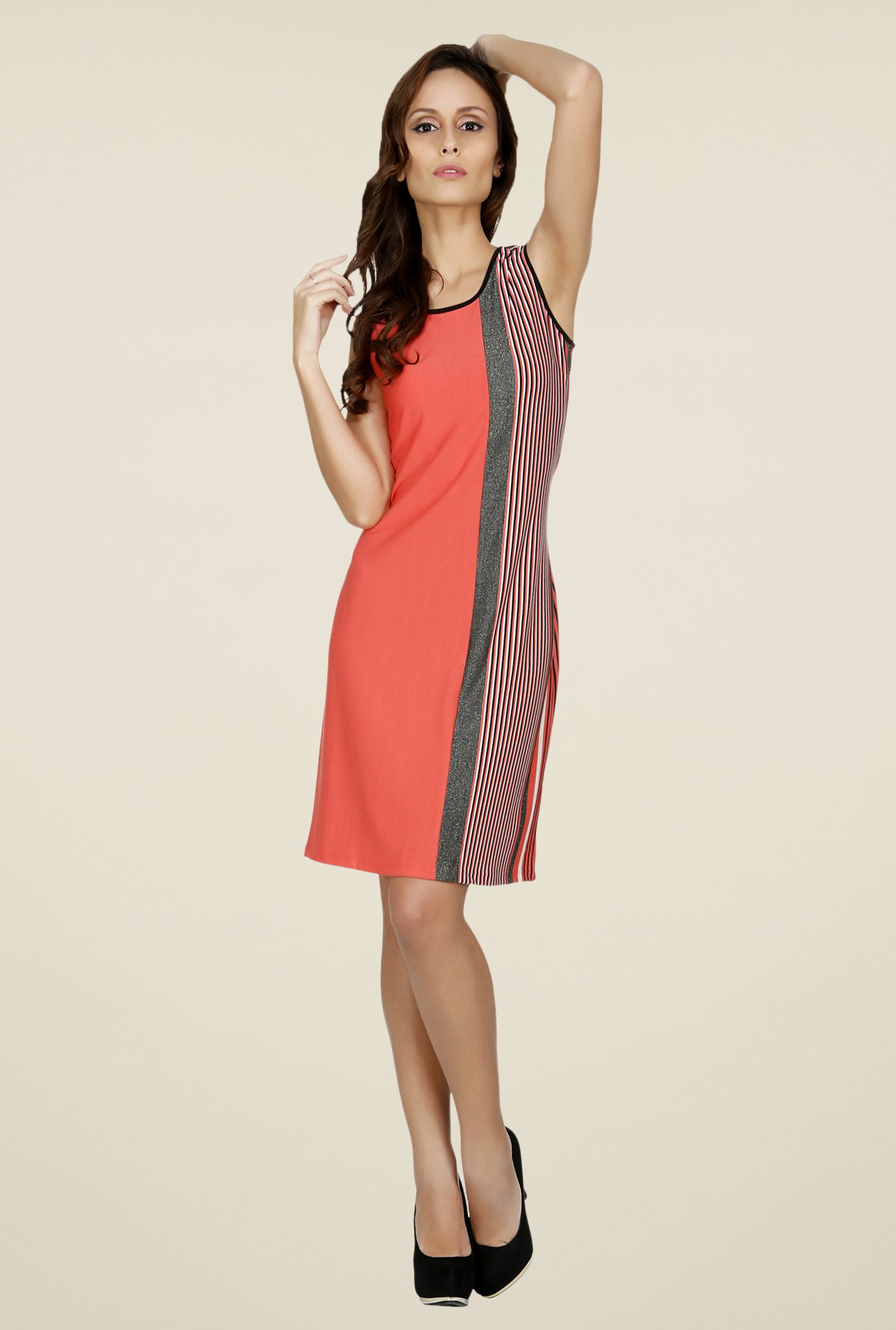 109 F Coral Striped Dress