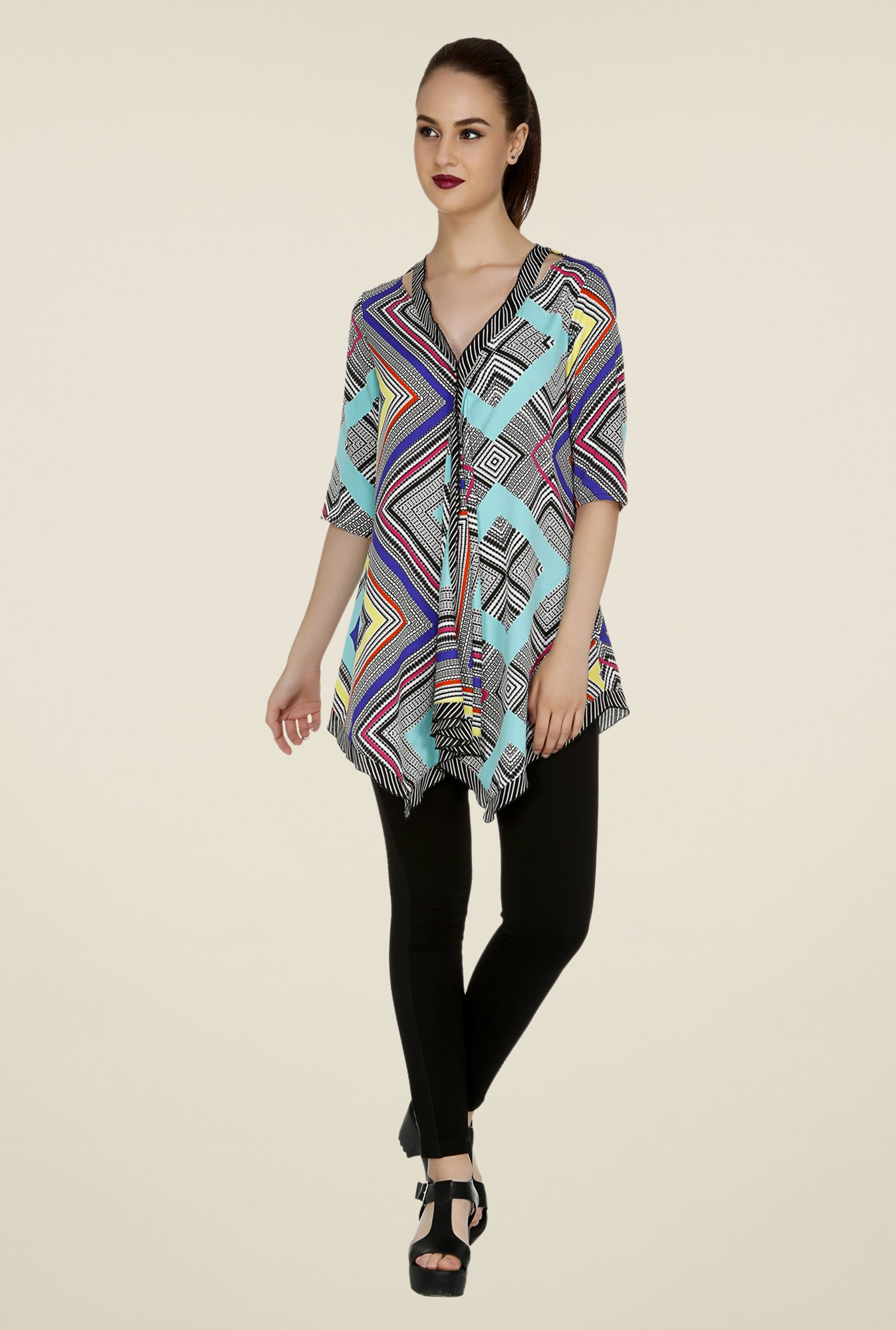109 F Blue Printed Tunic