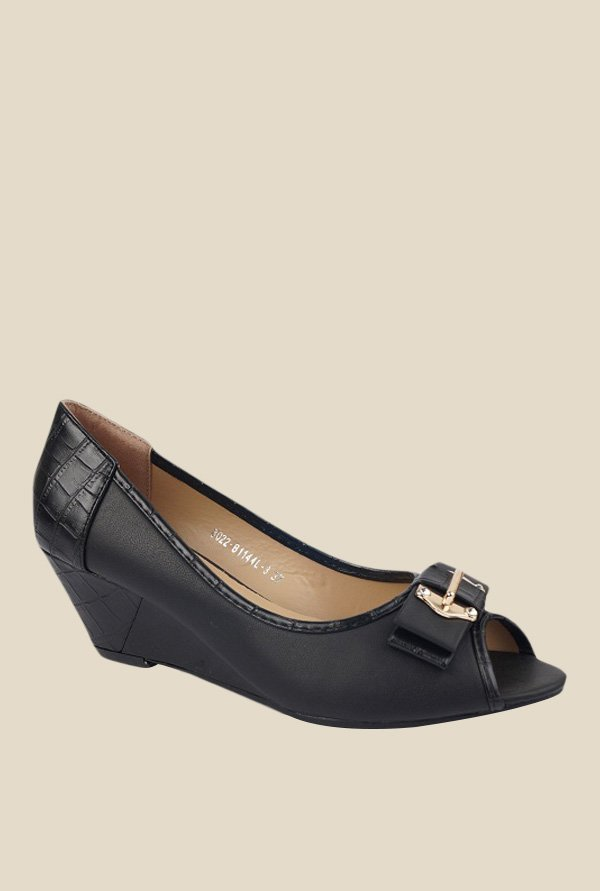Jove Black Peeptoe Wedges