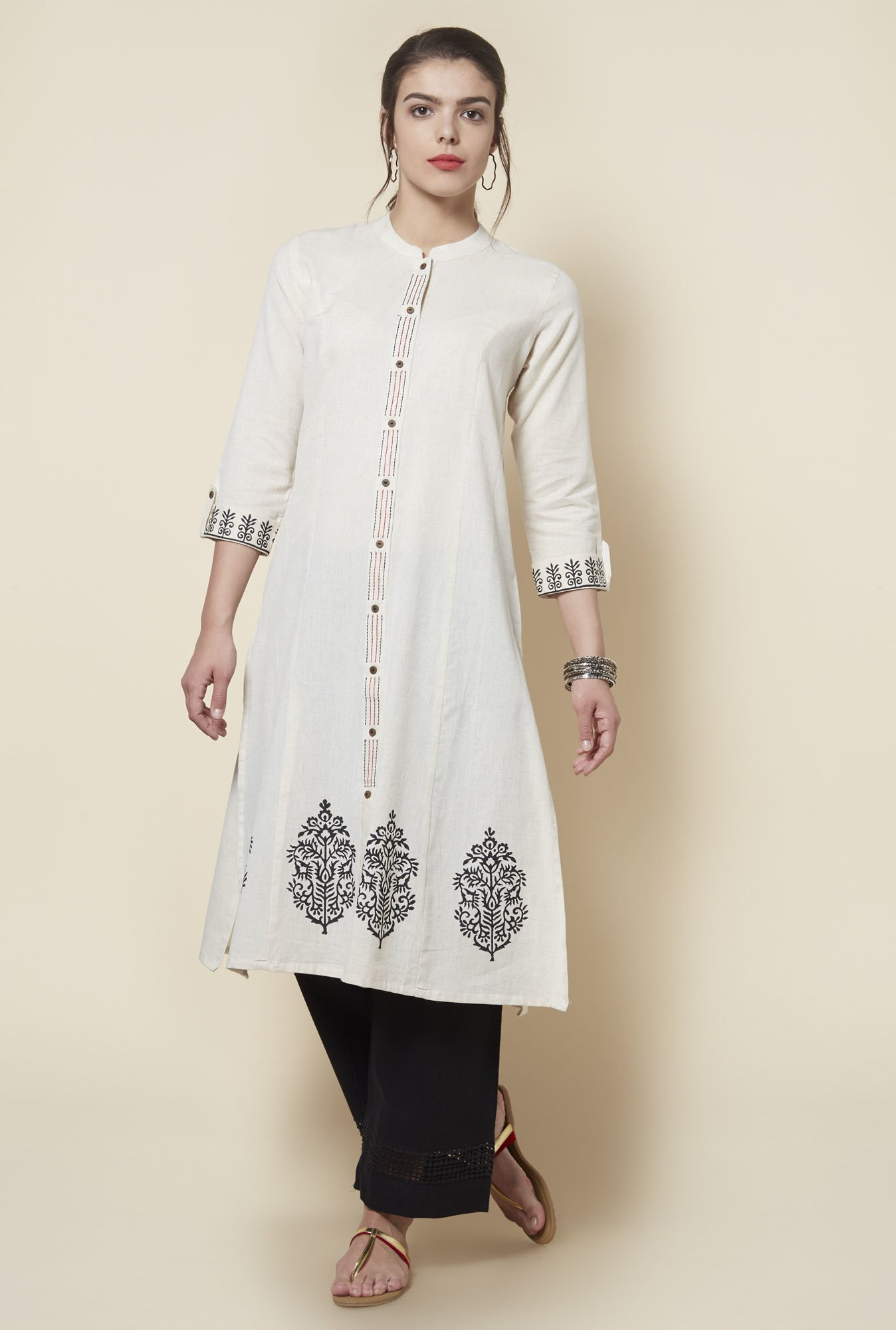 Zudio Off White Printed Kurta