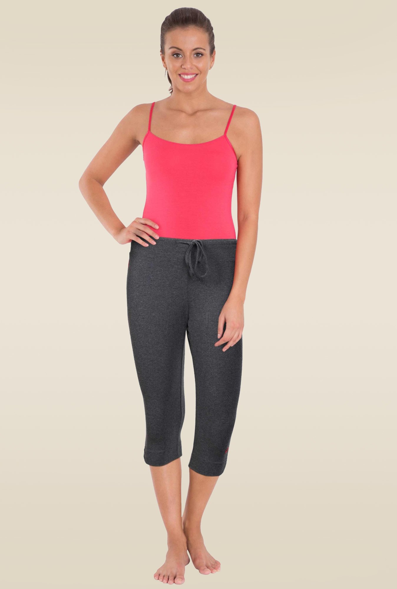 9f9ac5a410 Buy Jockey Charcoal Melange & Ruby Knit Capri - 1390 for Women Online @  Tata CLiQ