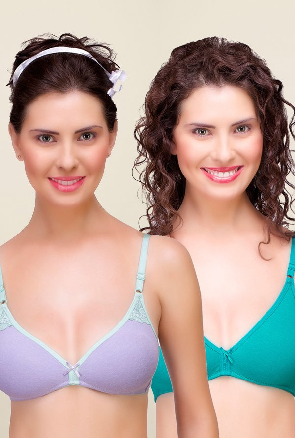 Inner Sense Purple & Teal Non Padded Bra (Pack of 2)