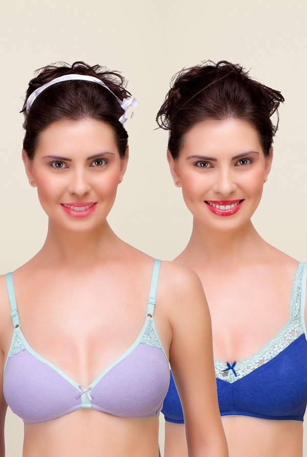 Inner Sense Purple & Blue Non Padded Bra (Pack of 2)