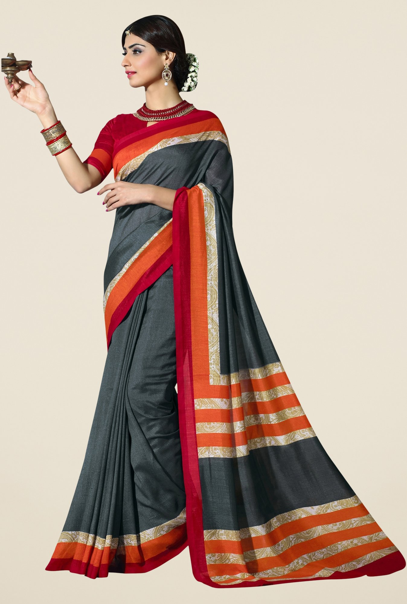 Triveni Grey Textured Silk Saree