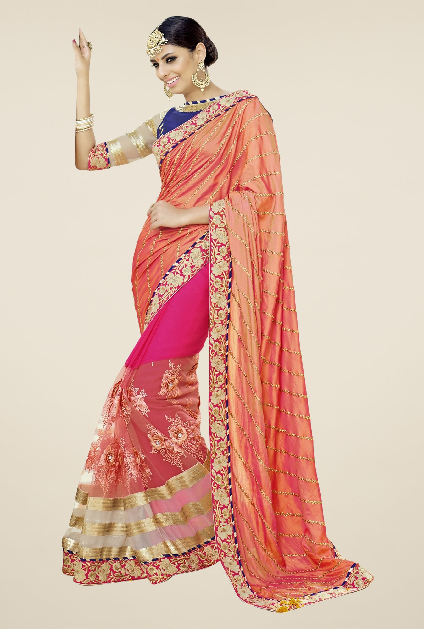 Triveni Pink & Orange Embroidered Saree