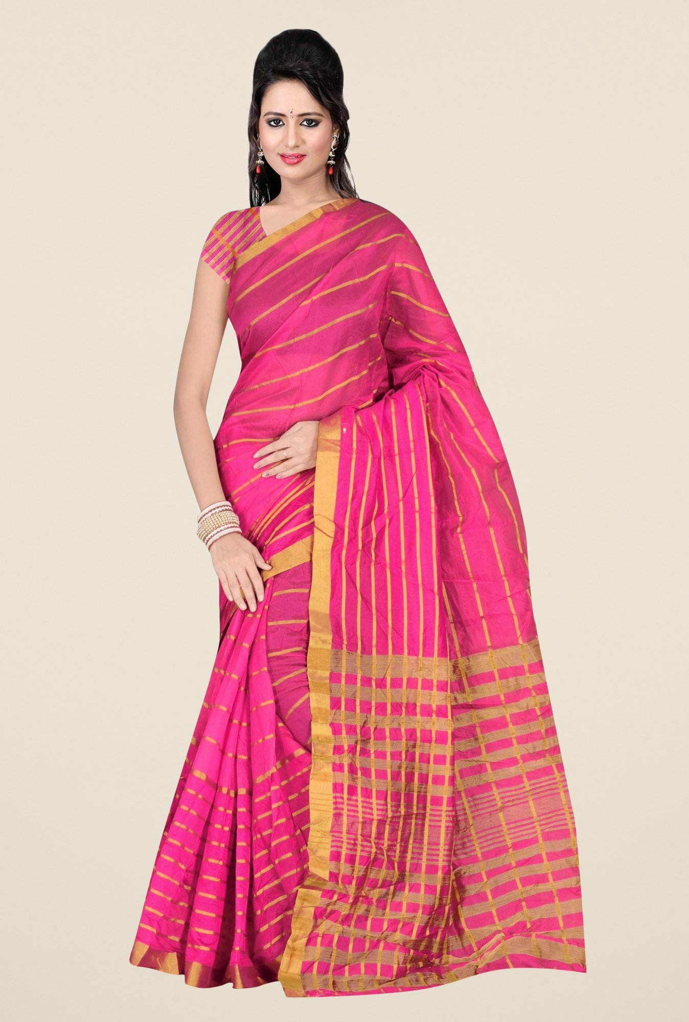 Triveni Pink Striped Silk Saree