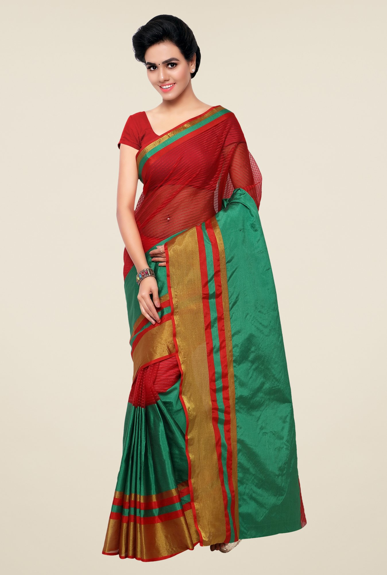 Triveni Green & Red Striped Silk Saree