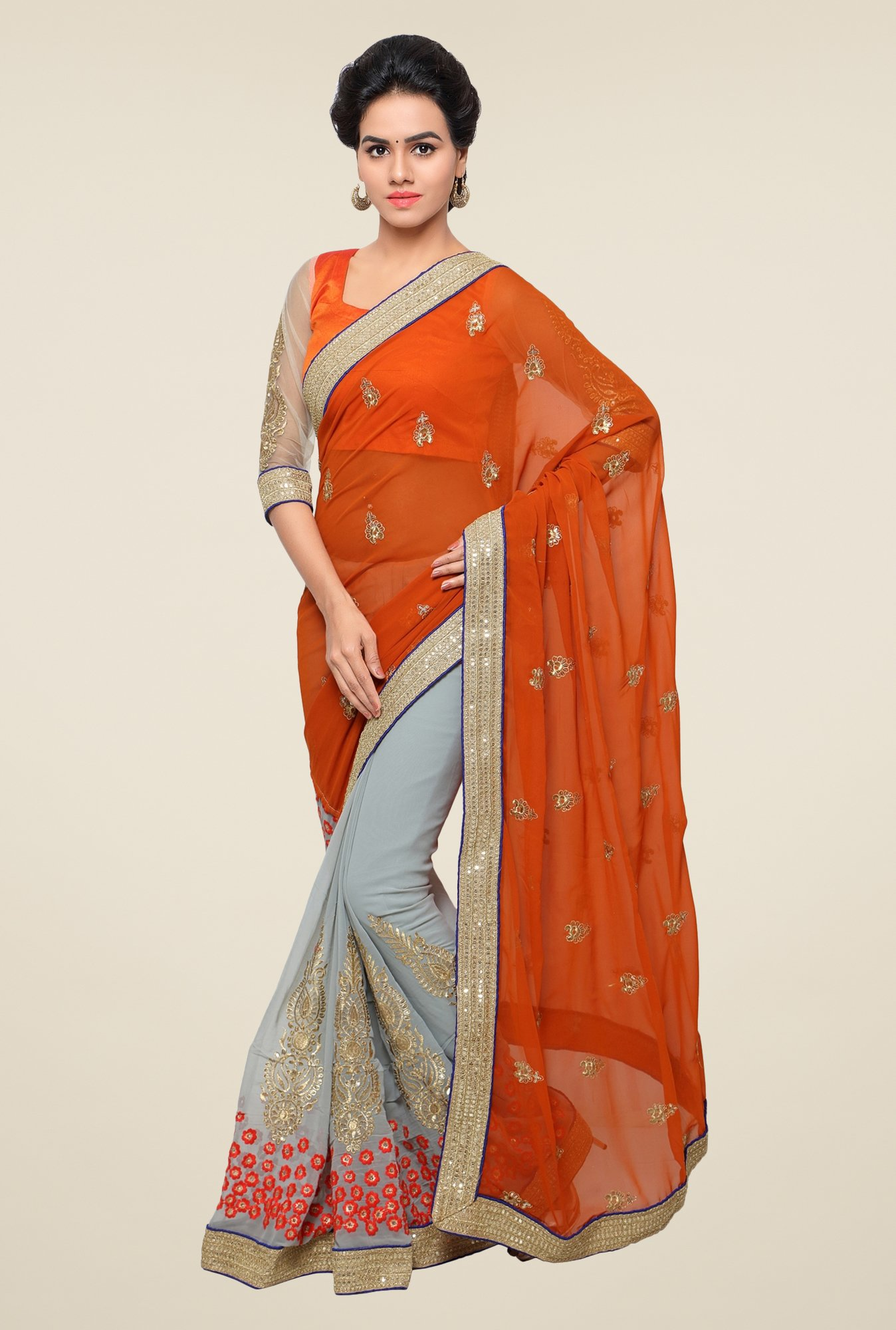 Triveni Grey & Rust Embroidered Faux Georgette Saree