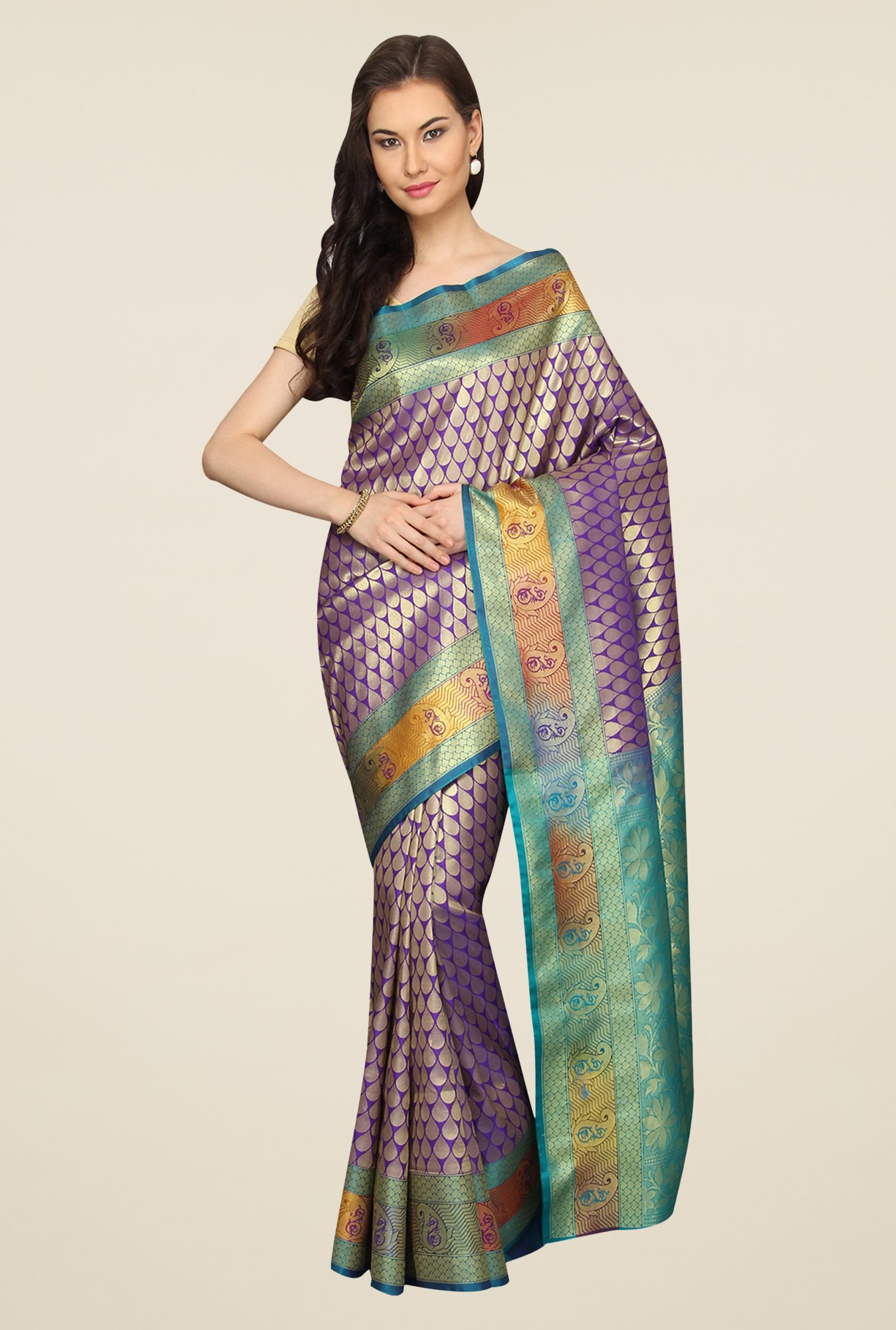 Pavecha's Purple & Teal Printed Cotton Banarasi Saree