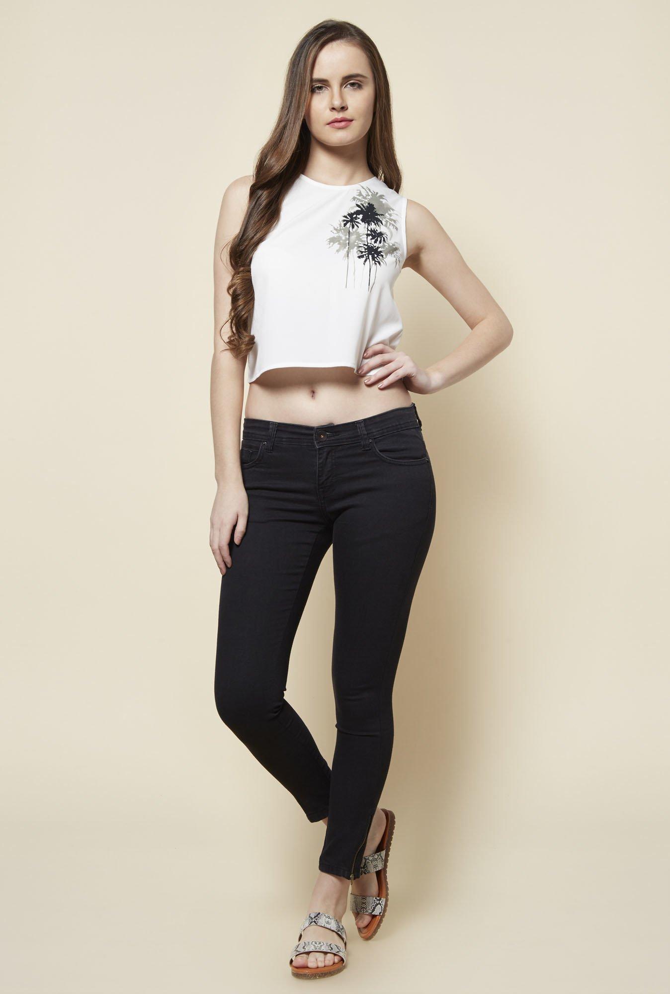 Buy Zudio White Flower Crop Top For Women Online Tata Cliq