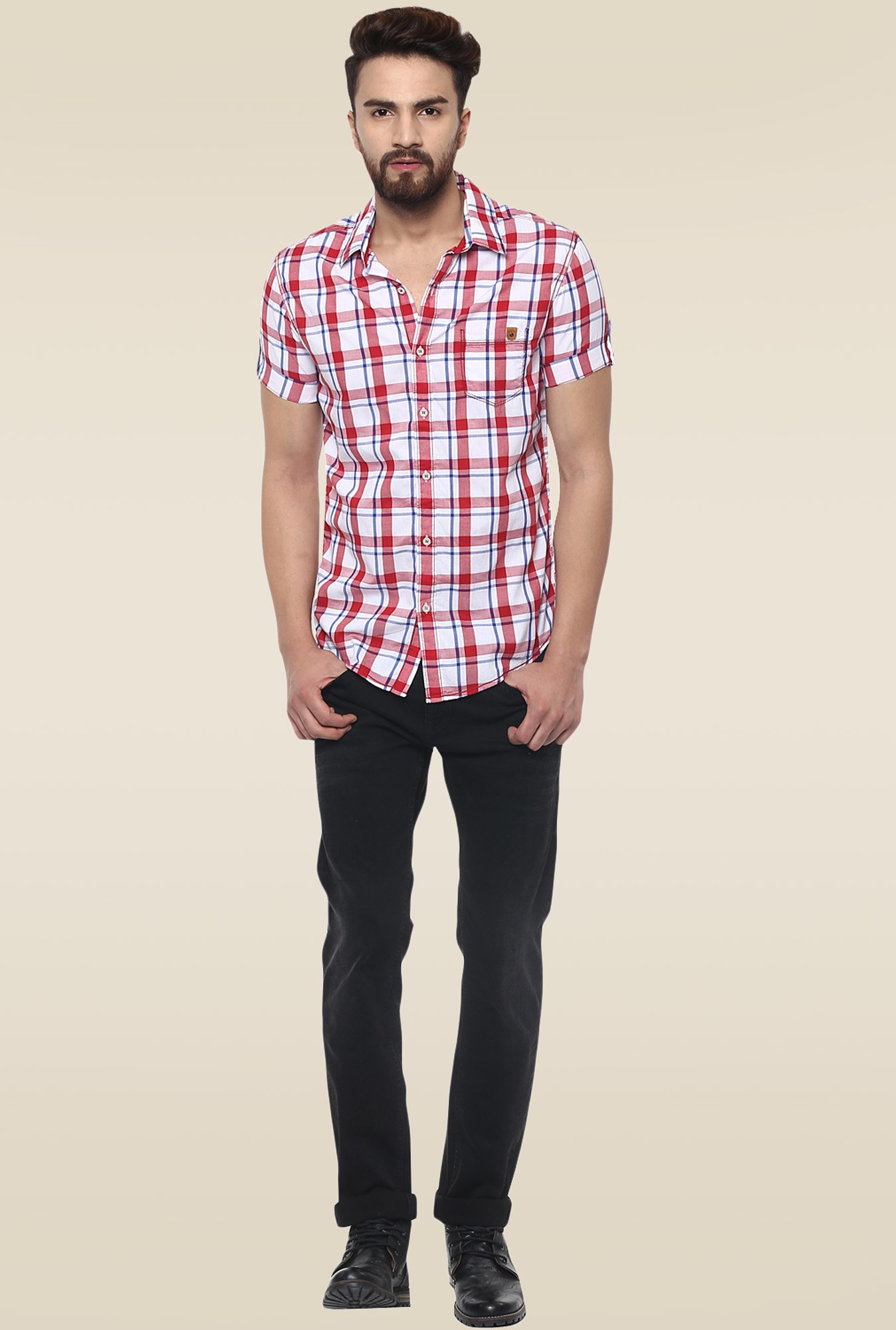 851360ea Buy Mufti White & Red Cotton Checkered Shirt for Men Online @ Tata ...