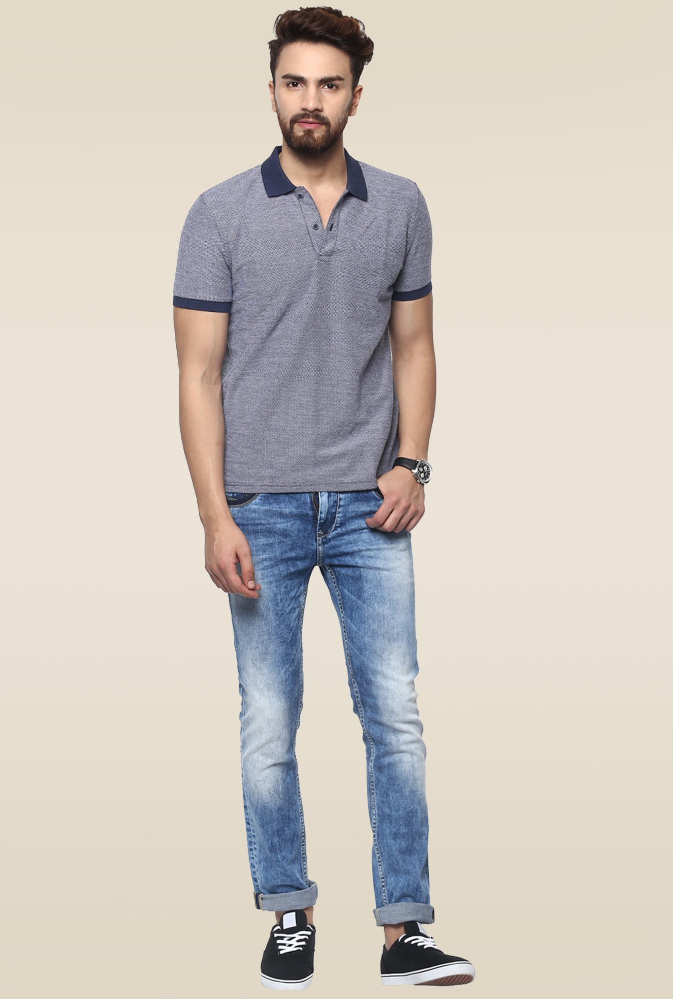 Mufti Mid Blue Acid Washed Fit Jeans
