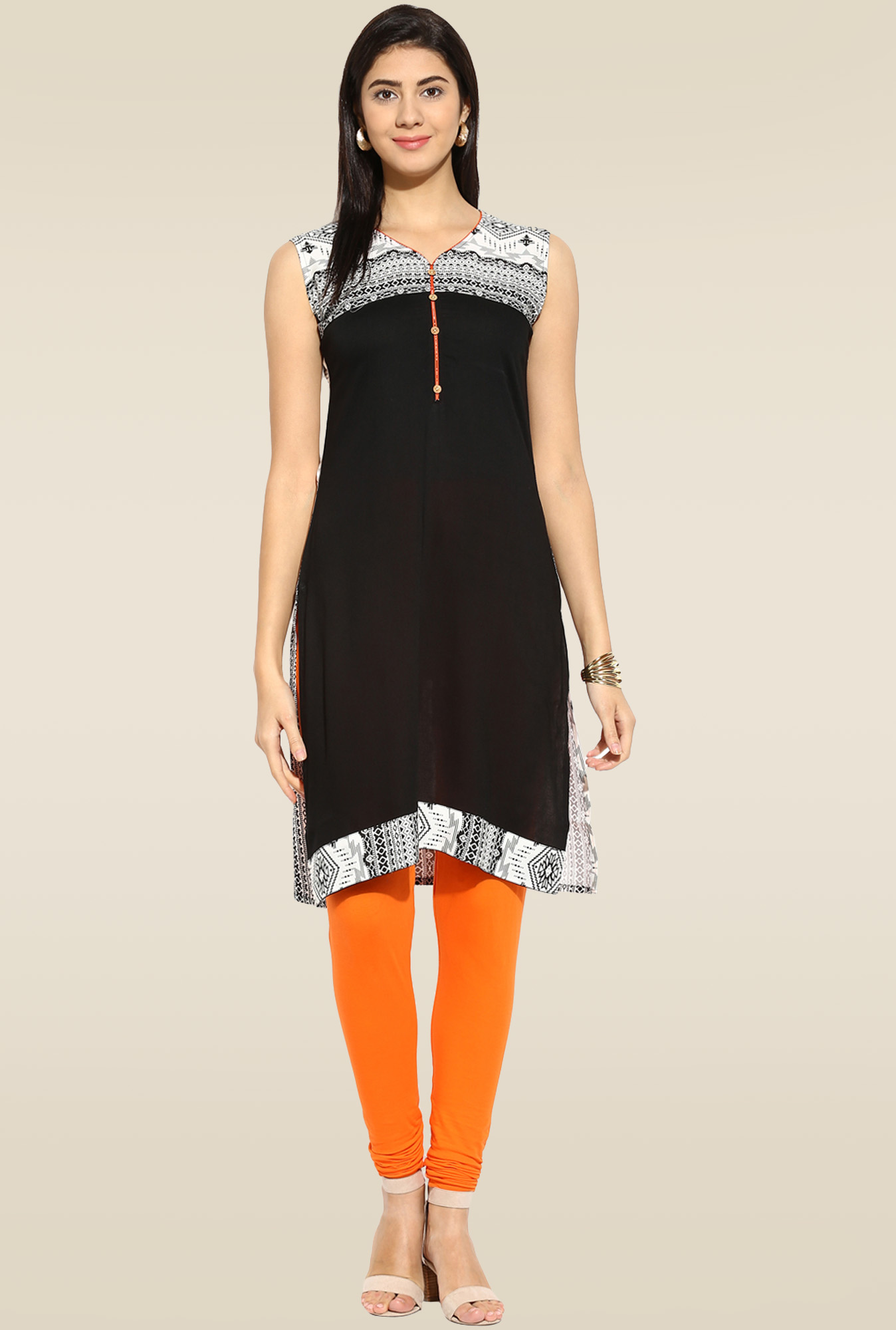 Mytri Black Printed Regular Fit Kurta