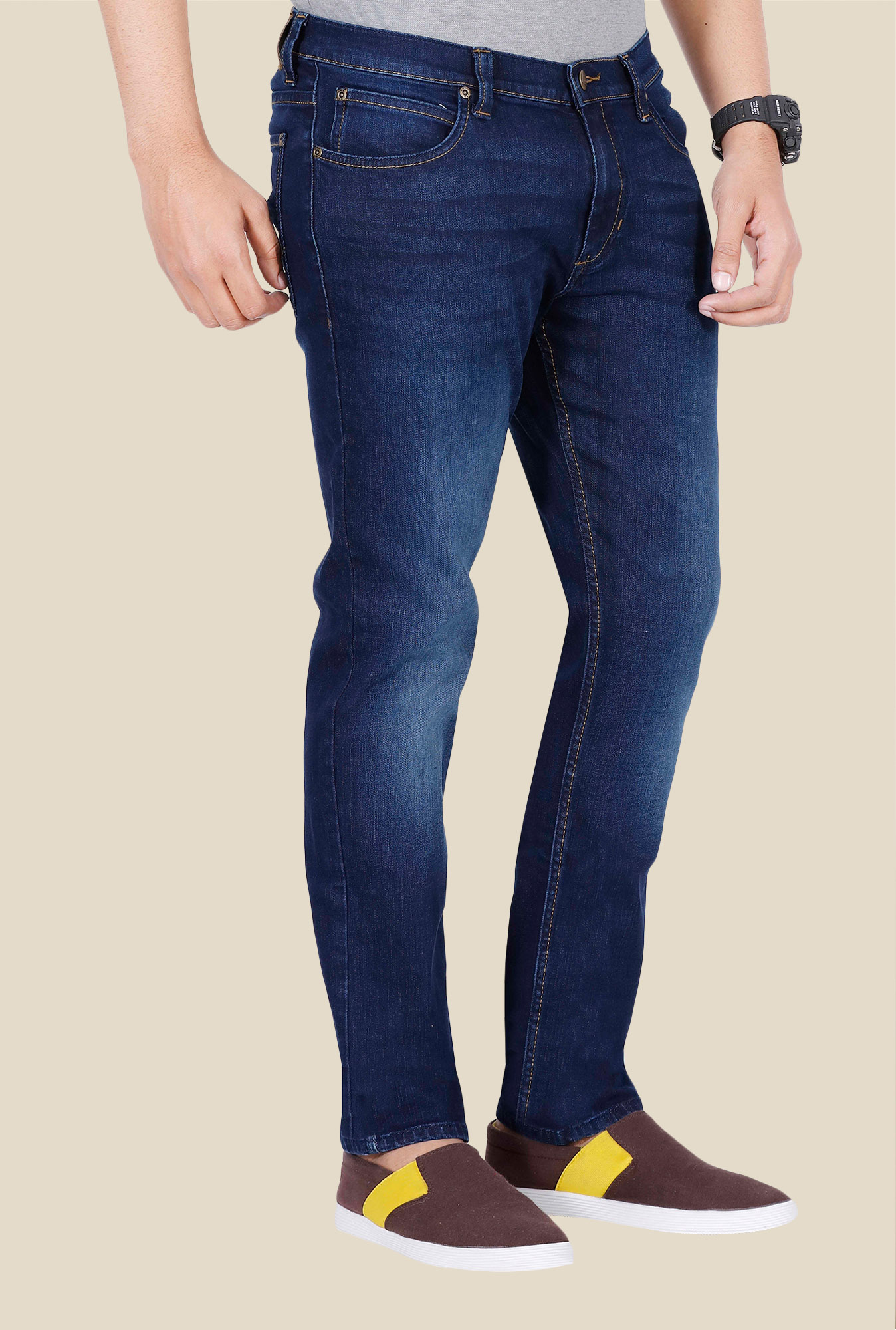 Lee Blue Mid Rise Denim Jeans