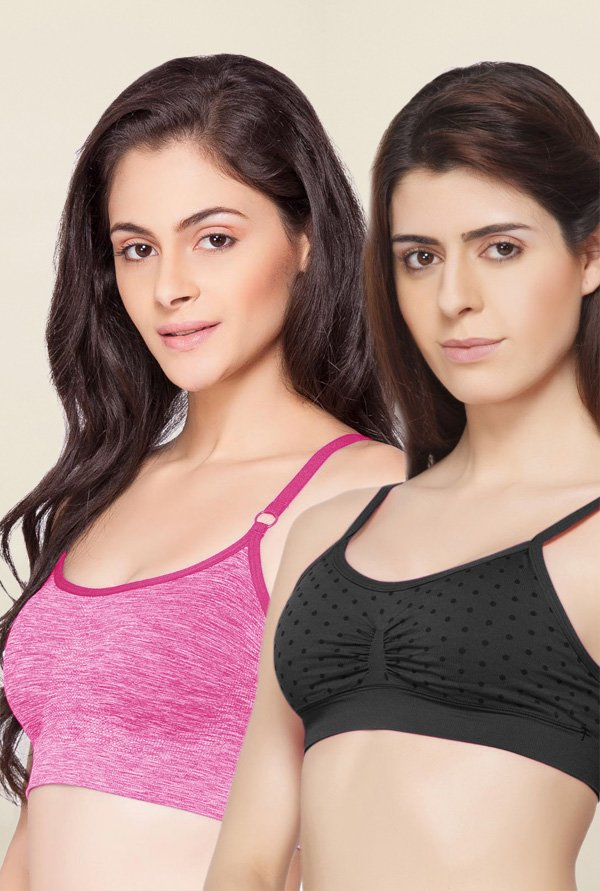 C9 Seamless Black & Pink Non Padded Bra (Pack Of 2)