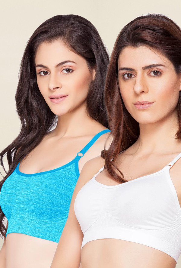 C9 Seamless White & Turquoise Non Padded Bra (Pack Of 2)