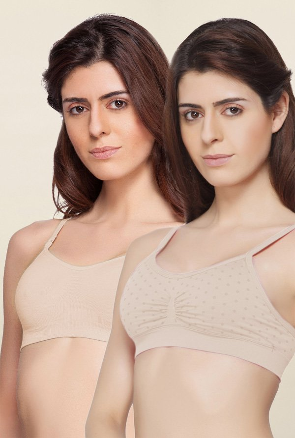 C9 Seamless Beige Non Padded Bra (Pack Of 2)