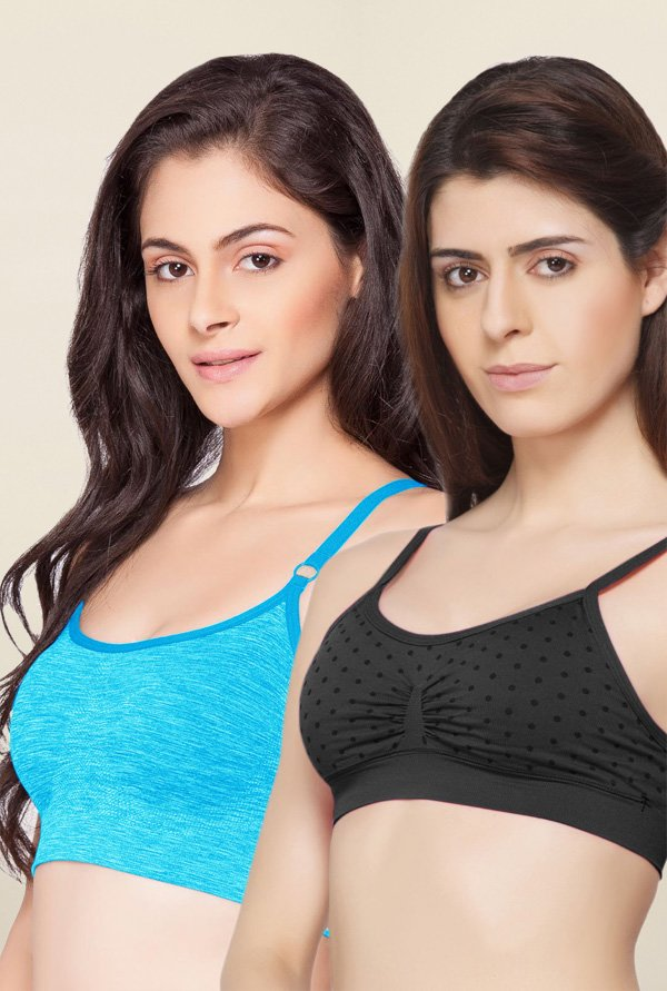 C9 Seamless Black & Turquoise Non Padded Bra (Pack Of 2)